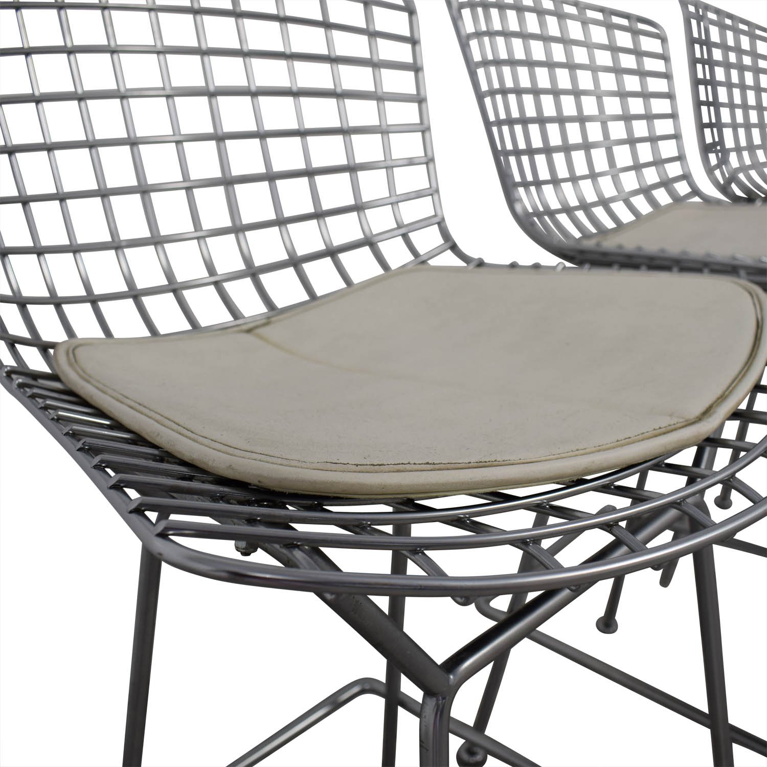 Bertoia-Style Chrome Wire Bar Stools dimensions