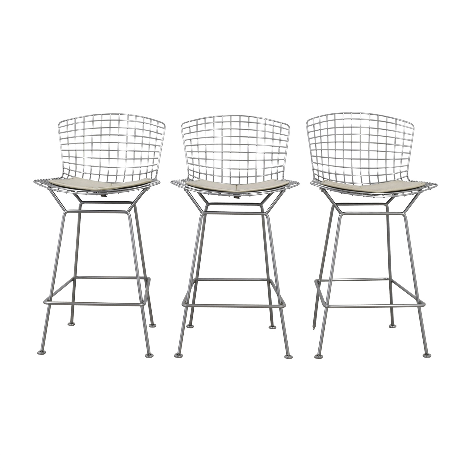 Strange 90 Off Bertoia Style Chrome Wire Bar Stools Chairs Theyellowbook Wood Chair Design Ideas Theyellowbookinfo