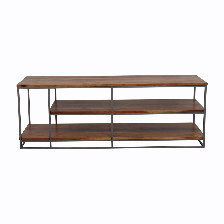 44 Off Cb2 Framework Credenza Wood And Wrought Iron Shelf Media Center Storage