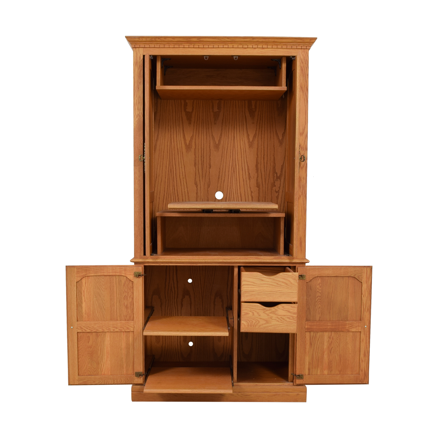 Custom TV Armoire with Drawers and Pull Out Shelves Storage