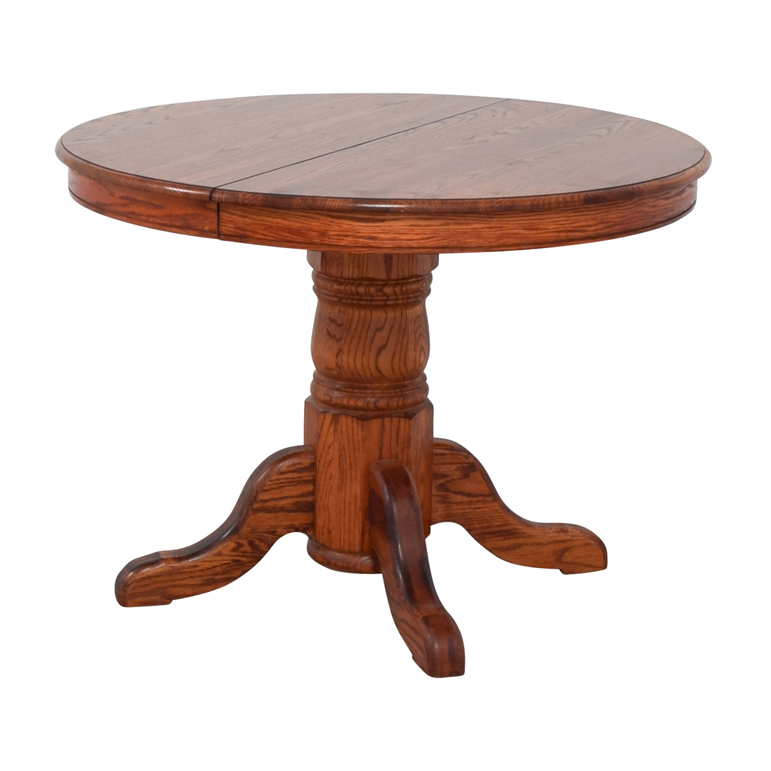 76 off custom extendable oak round dining table tables. Black Bedroom Furniture Sets. Home Design Ideas