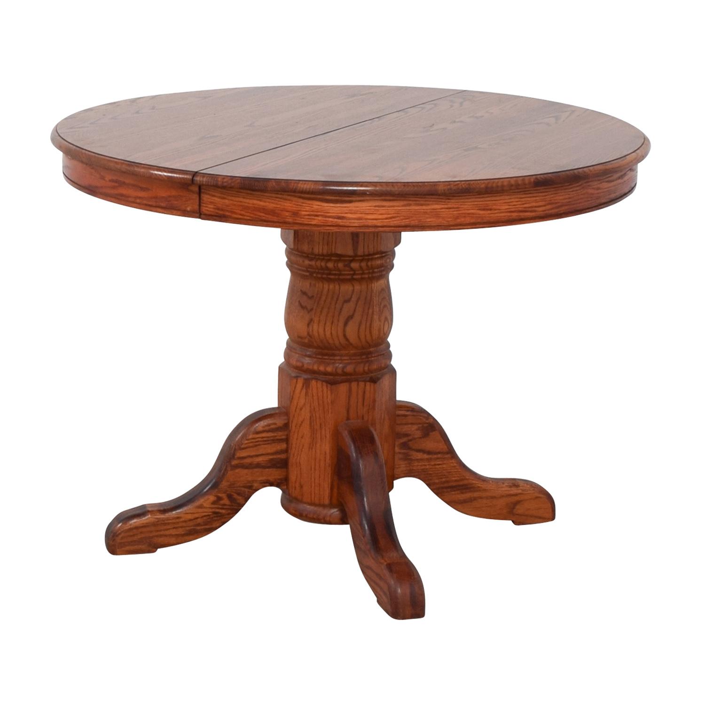 Custom Extendable Oak Round Dining Table used