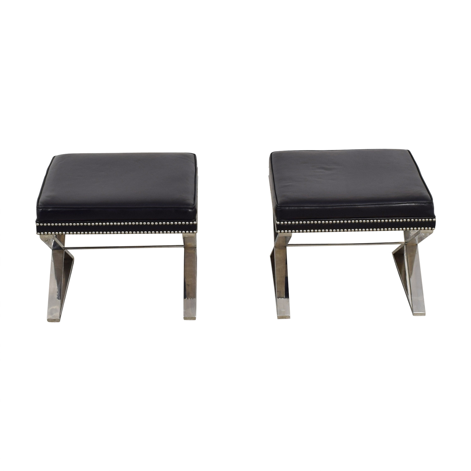 buy  Black Leather Nailhead X Benches or Ottomans online