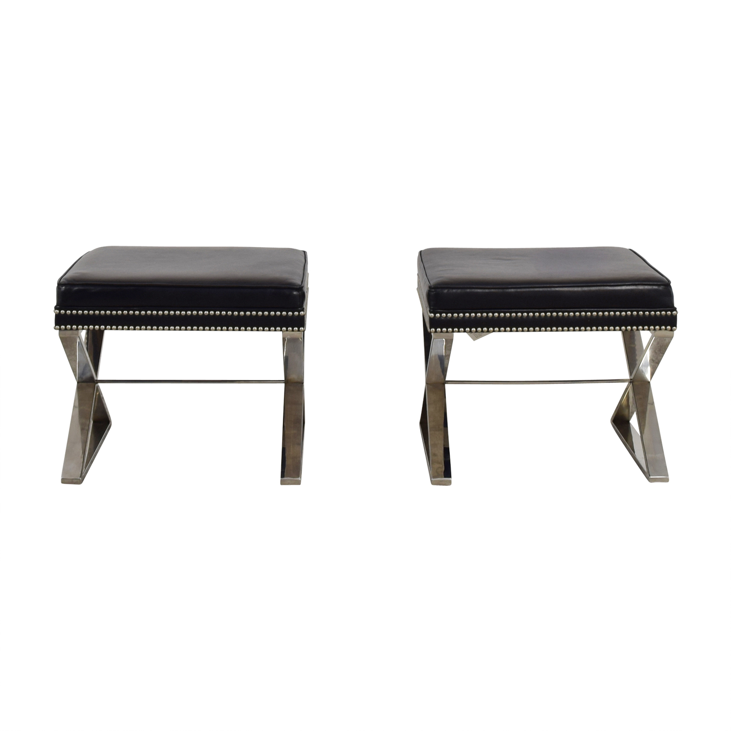 Black Leather Nailhead X Benches or Ottomans