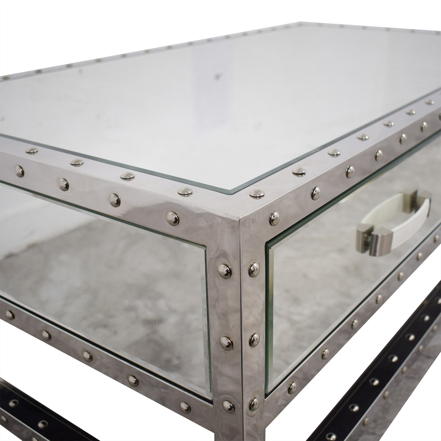 buy Modani Valentino Mirror and Chrome Coffee Table Modani