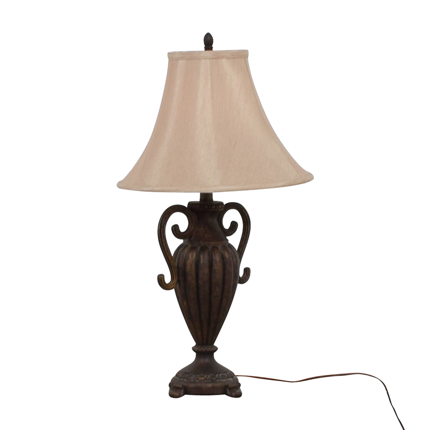 Ornate Faux Metalwork Table Lamp Dark Brown /  Tan
