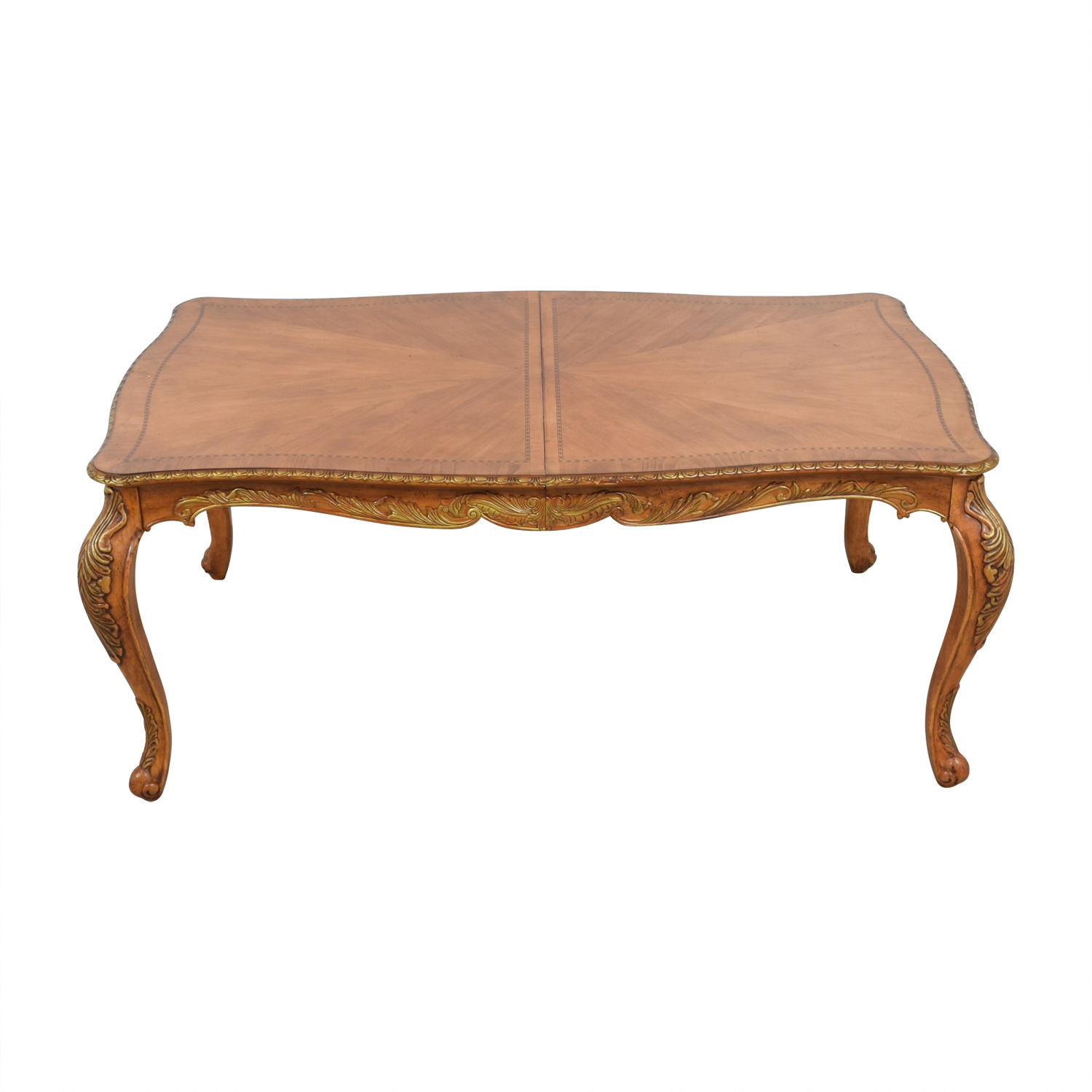 buy  Mid-Century Gold Distressed Wood Dining Table online