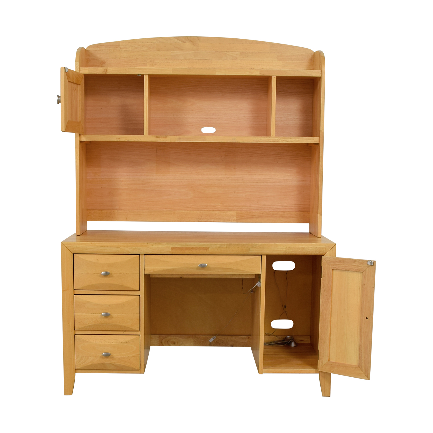 Natural Wood Computer Desk with Hutch coupon
