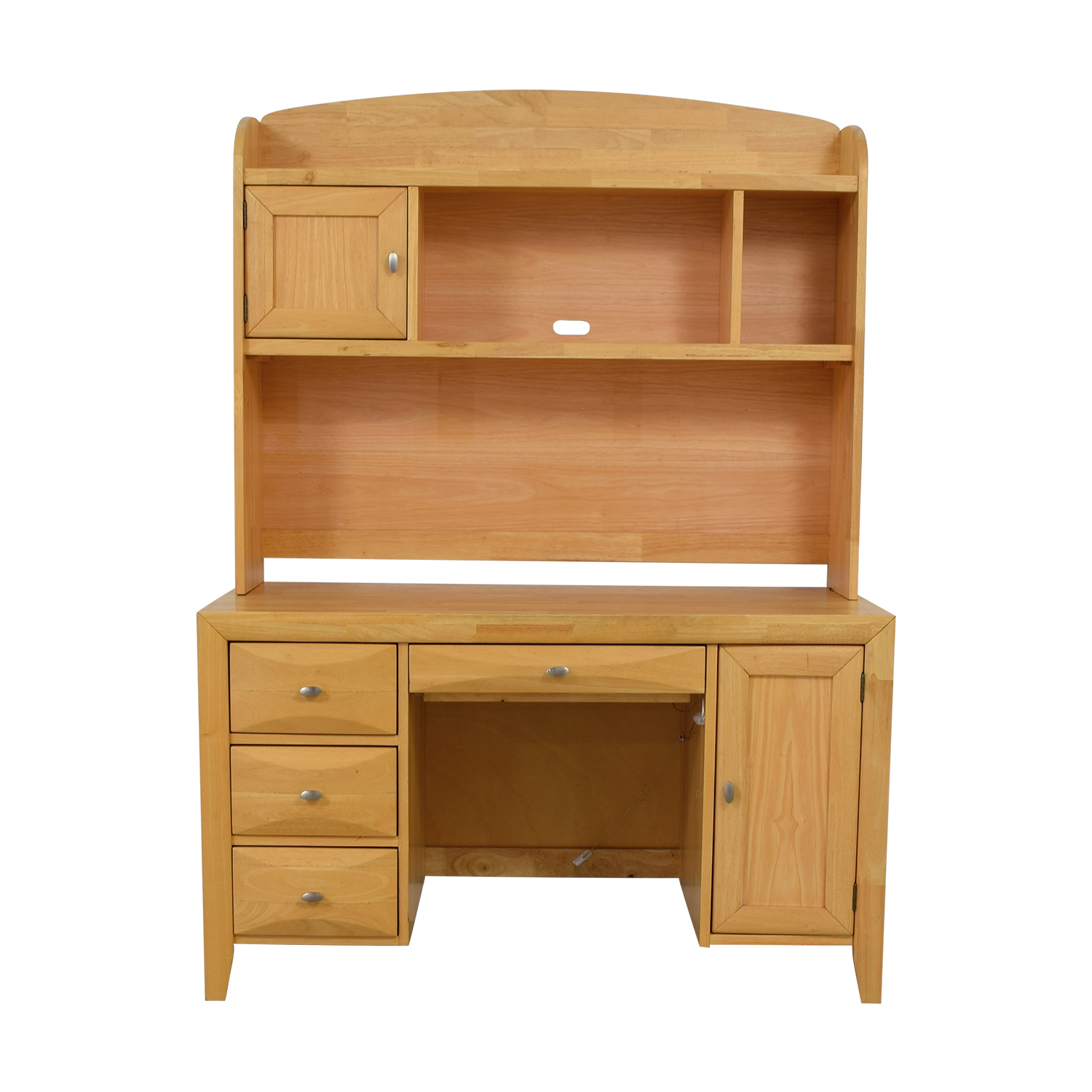 Natural Wood Computer Desk With Hutch / Tables
