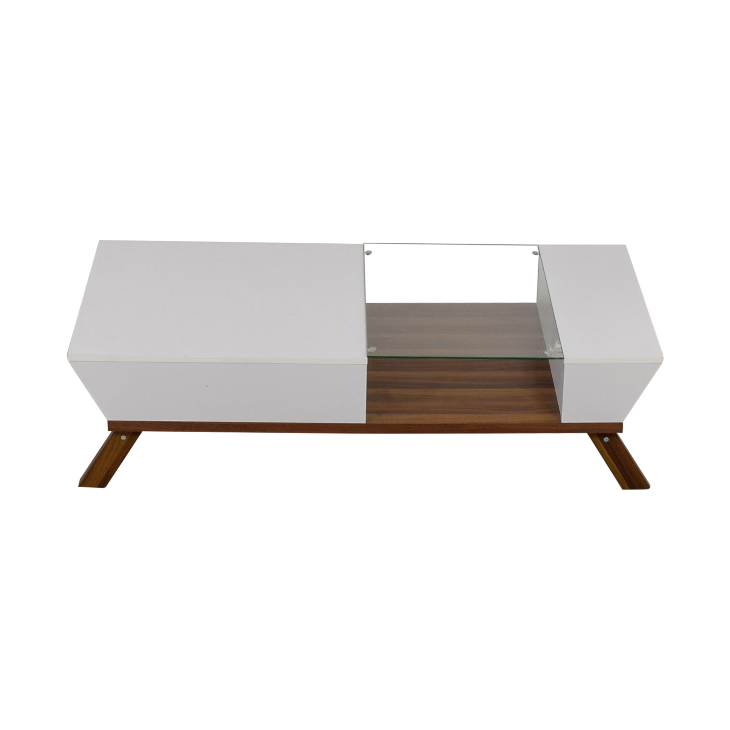 Mercury Row White Wood and Glass Modern Coffee Table Mercury Row