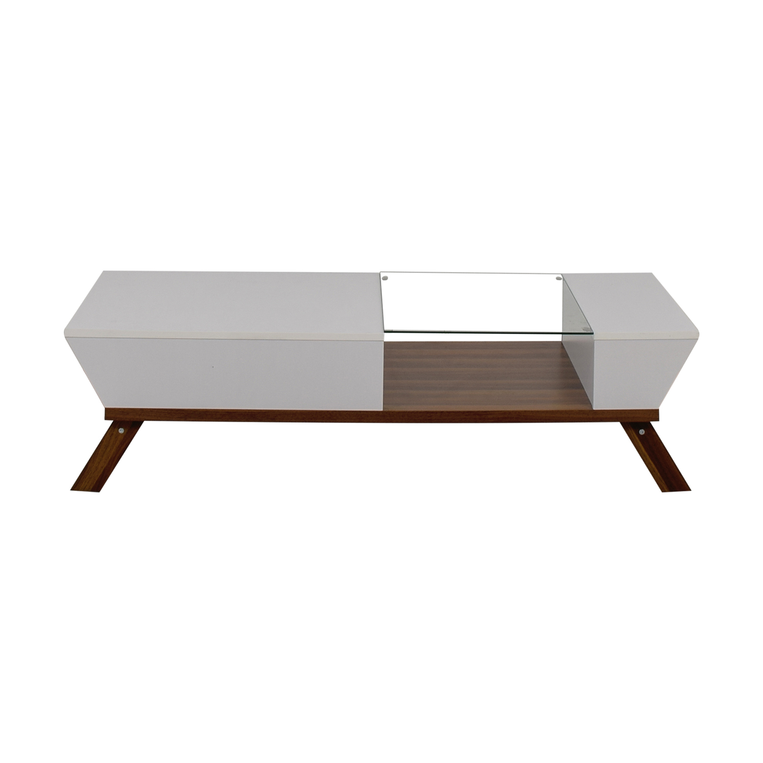 Mercury Row White Wood and Glass Modern Coffee Table sale