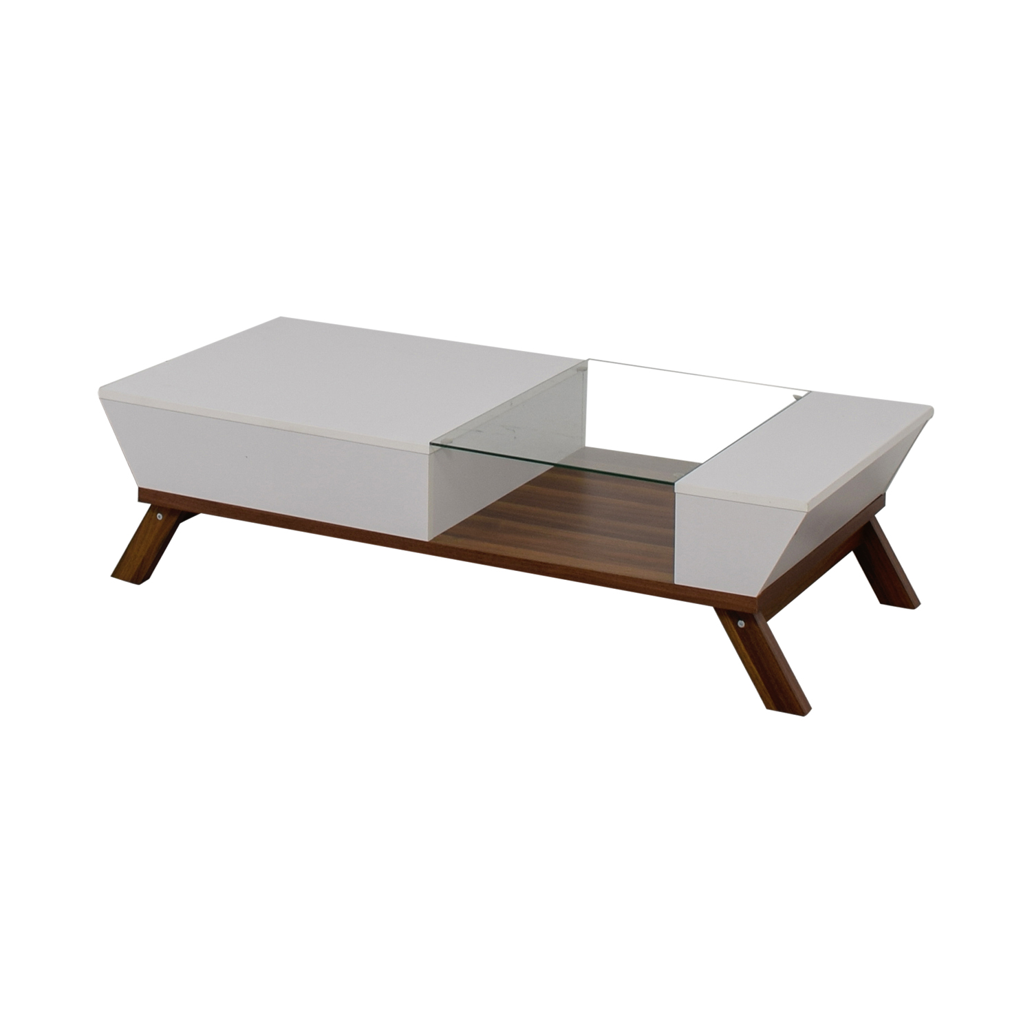 Mercury Row Mercury Row White Wood and Glass Modern Coffee Table Tables