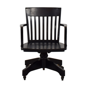 Pottery Barn Pottery Barn Black Wood Desk Chair with Arms on Castors discount