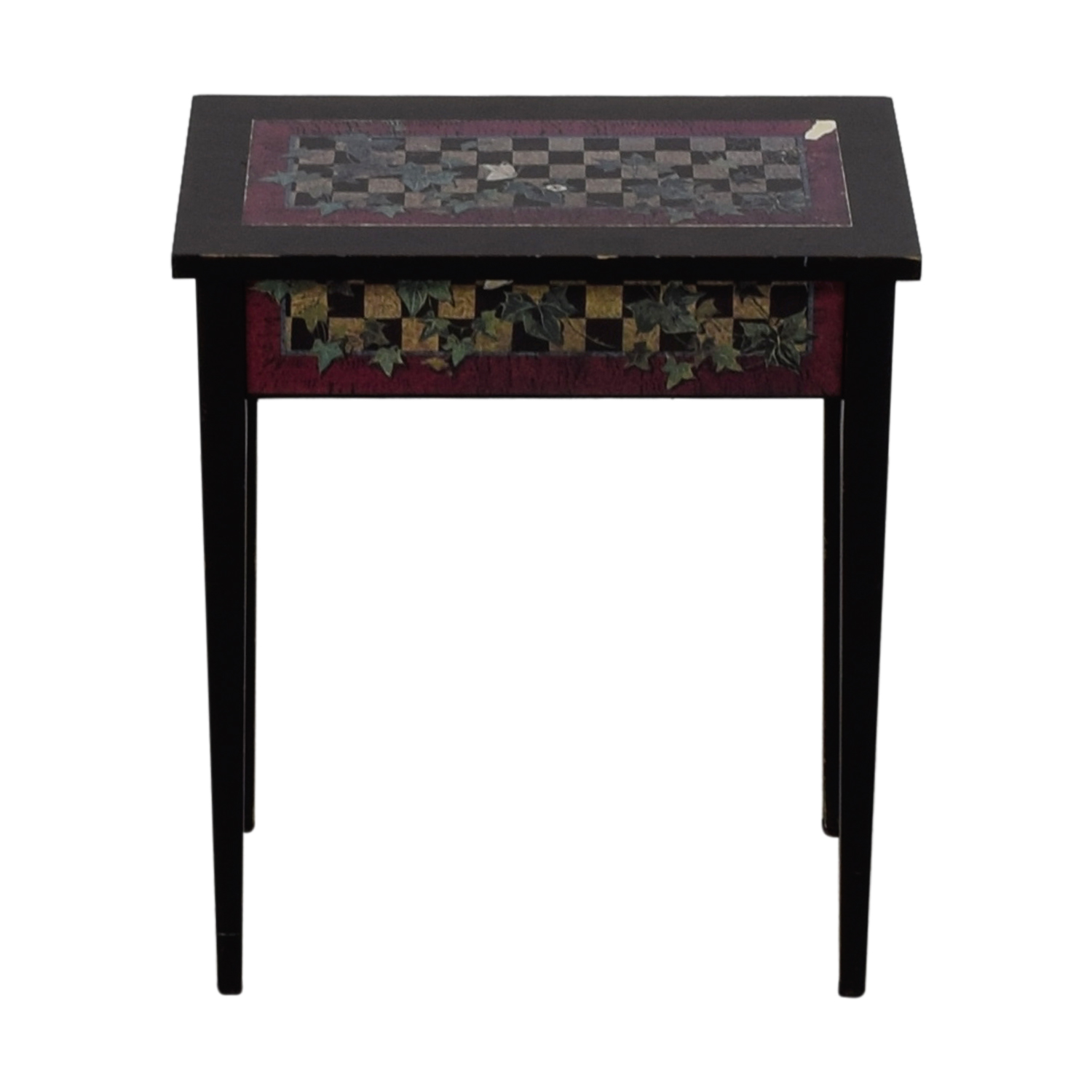 Black Checkerboard and Ivy Leaf End Table discount