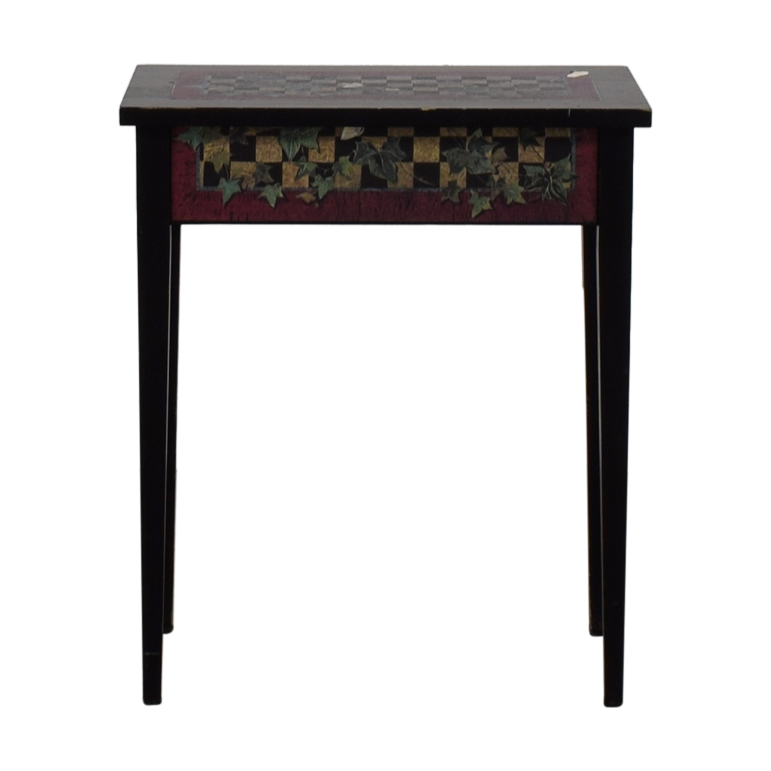 Black Checkerboard and Ivy Leaf End Table nyc