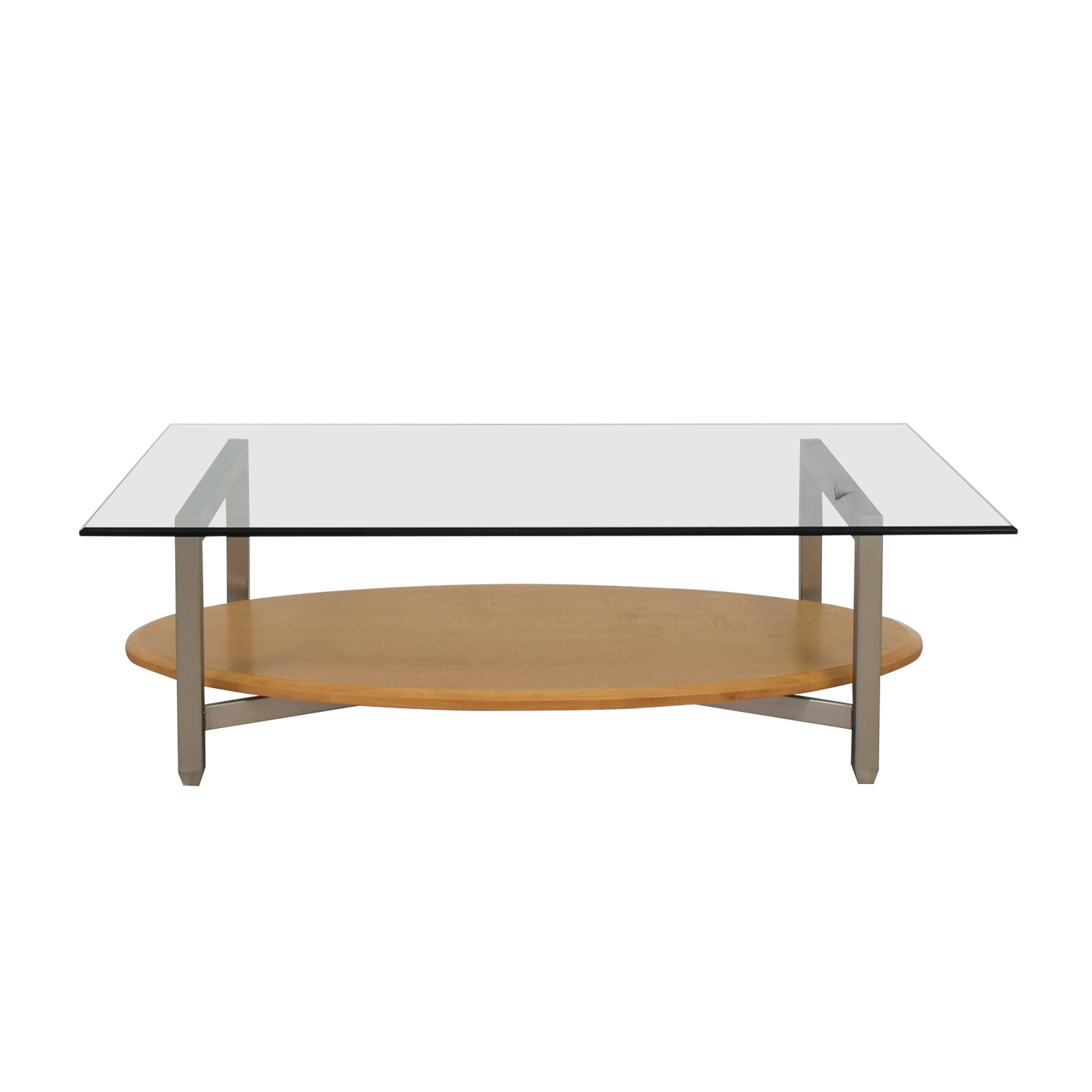 Ethan Allen Trevor Coffee Table: Ethan Allen Ethan Allen Glass Metal Wood Coffee