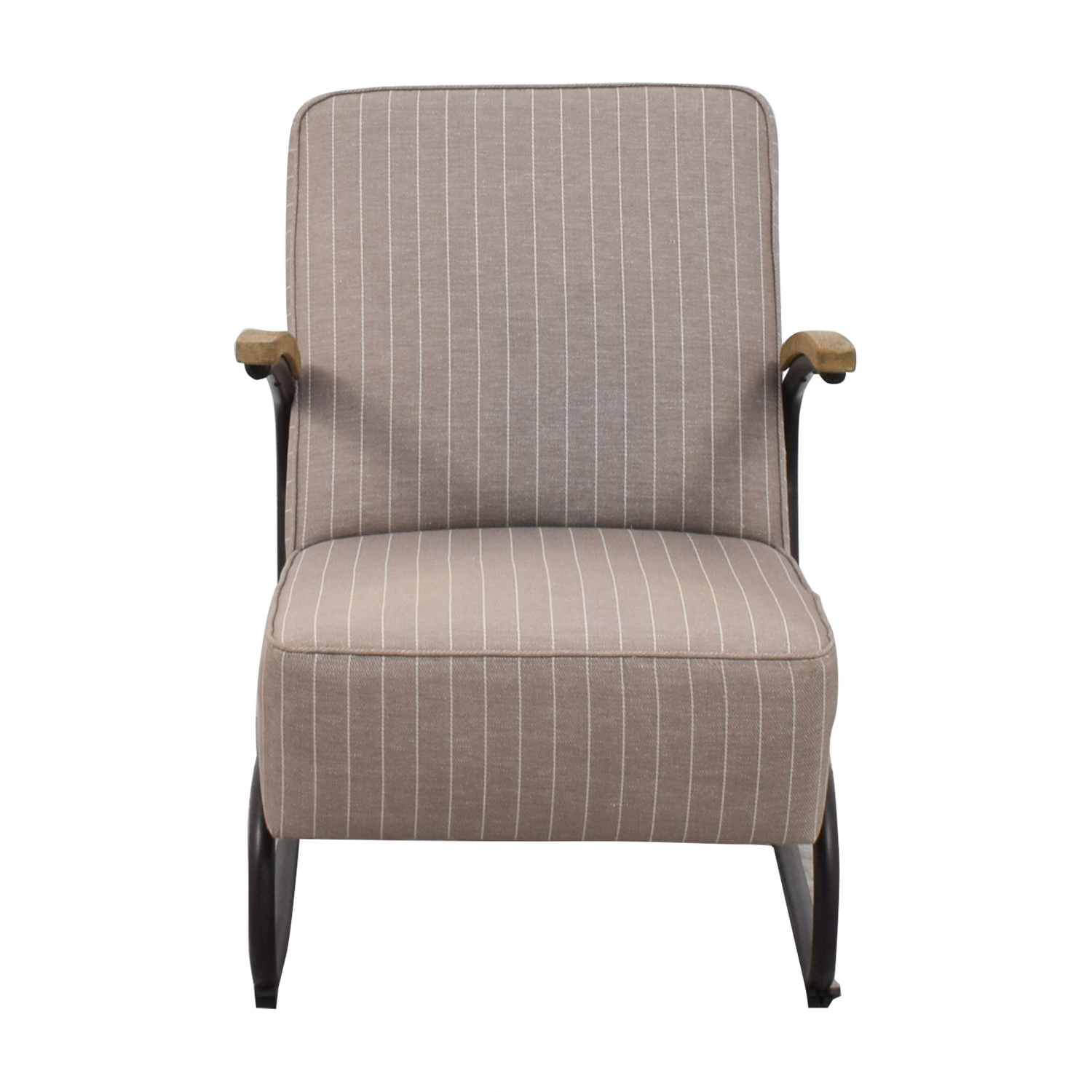 Awesome 90 Off Beige And White Pinstripe Industrial Modern Arm Chair Chairs Unemploymentrelief Wooden Chair Designs For Living Room Unemploymentrelieforg