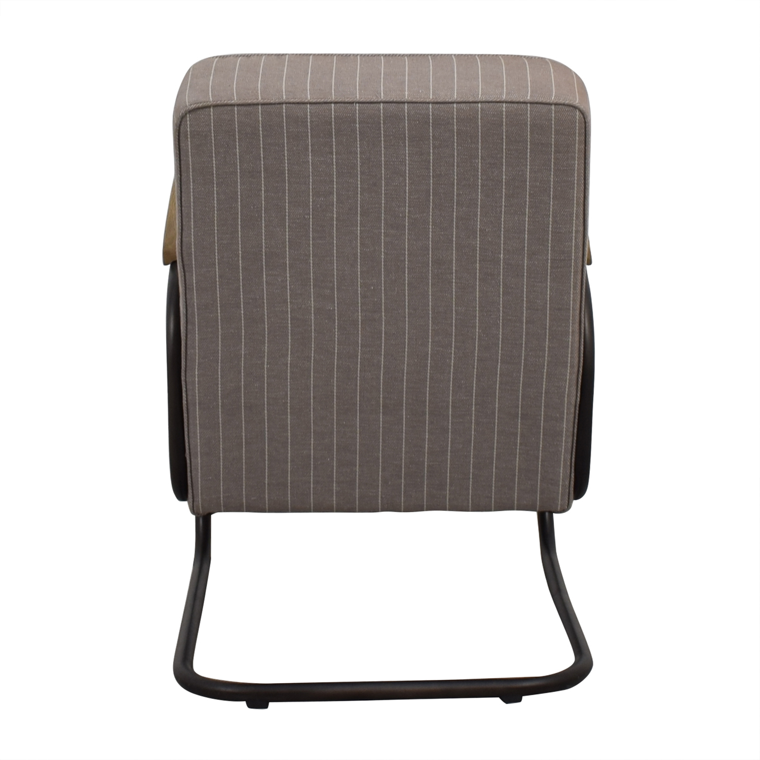 Beige and White Pinstripe Industrial Modern Arm Chair Accent Chairs