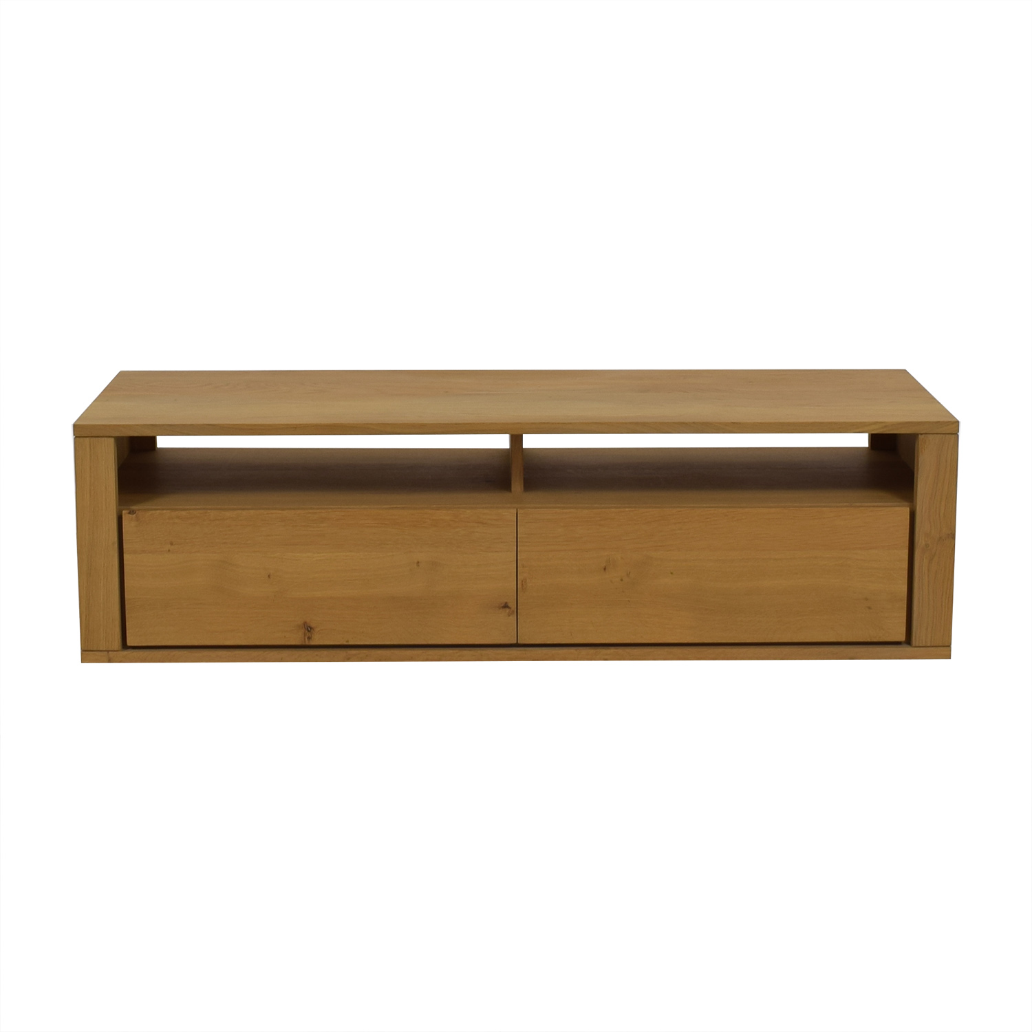 Natural Wood Two-Drawer TV Stand second hand
