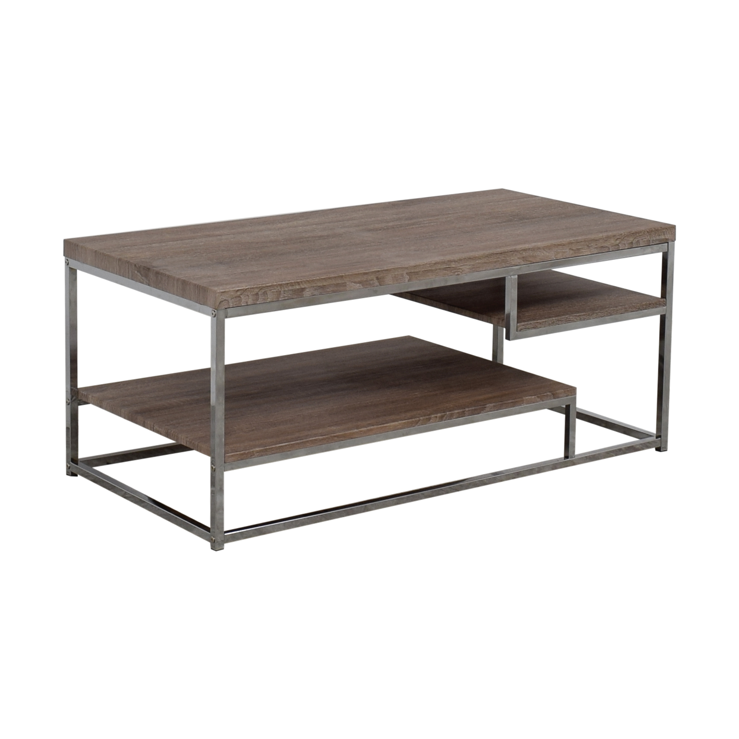 OFF Rustic Wood And Chrome Coffee Table Or Media Unit Tables - Reclaimed wood and chrome coffee table