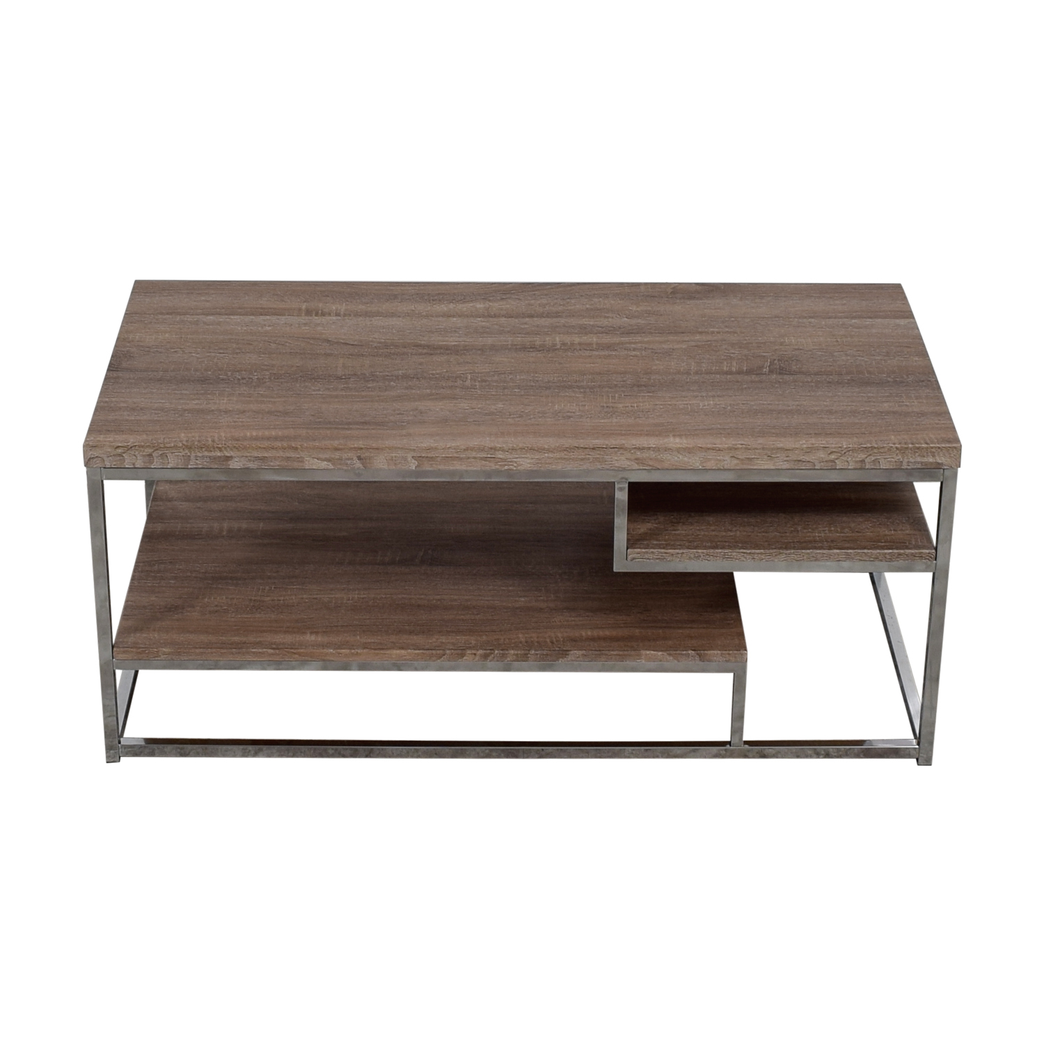 40 Off Rustic Wood And Chrome Coffee Table Or Media Unit Storage