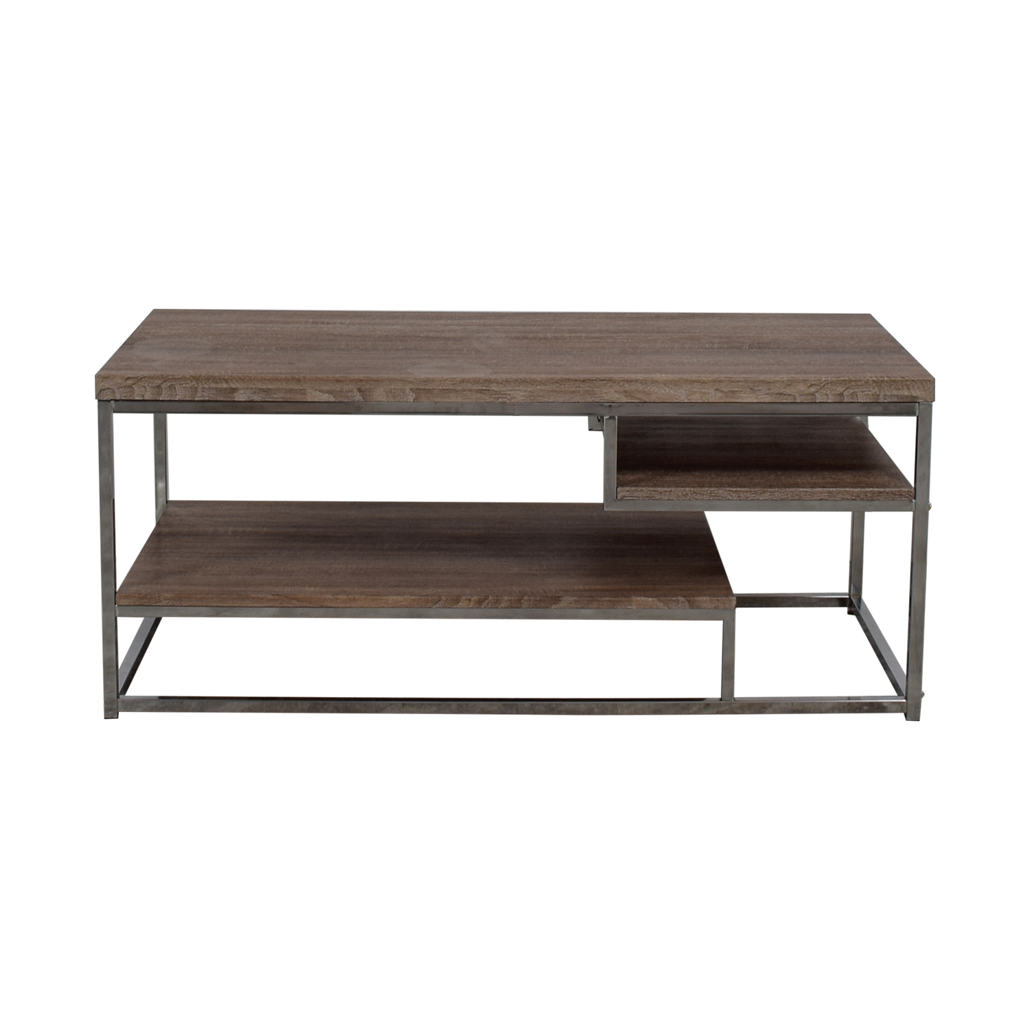 Picture of: 40 Off Rustic Wood And Chrome Coffee Table Or Media Unit Storage