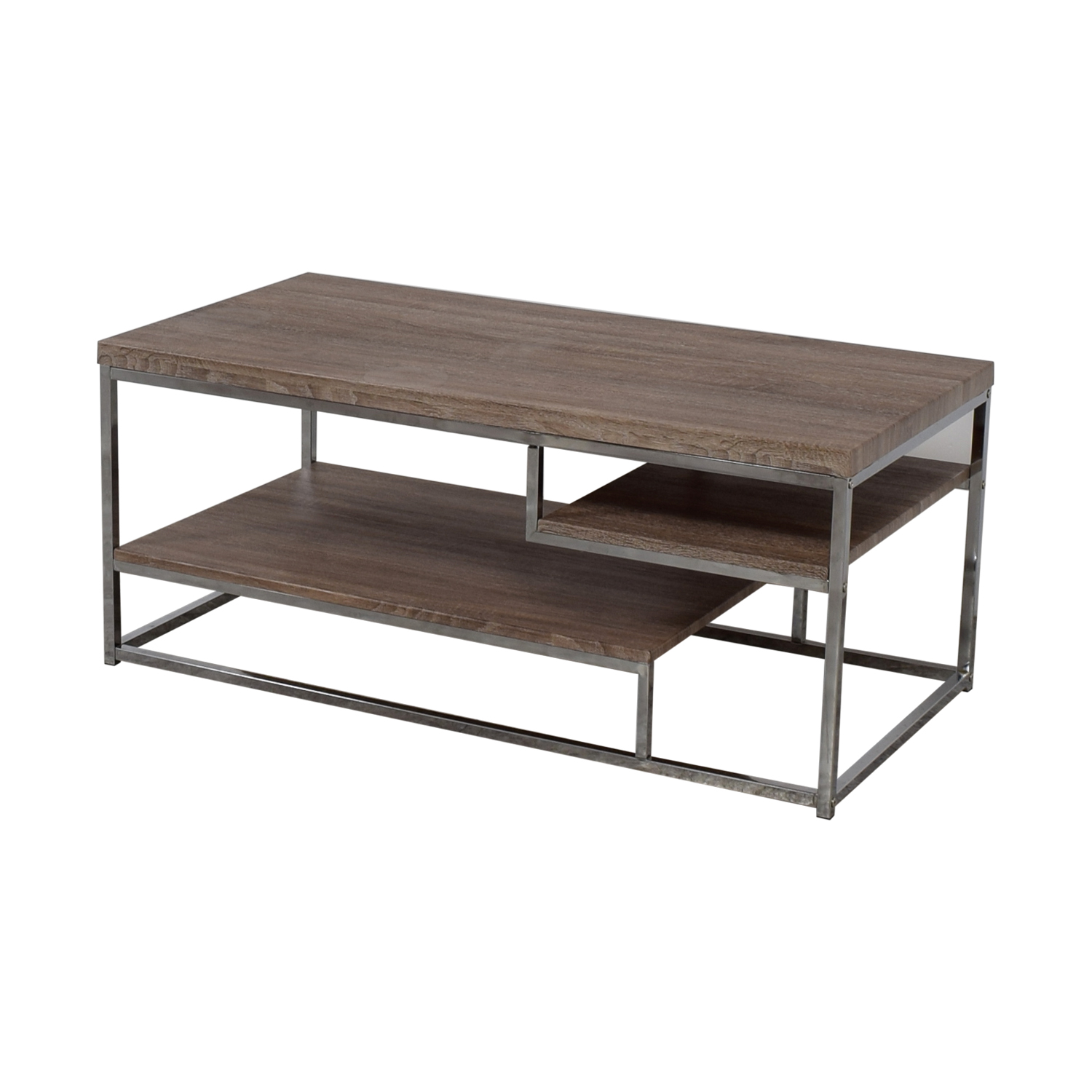 Rustic Wood And Chrome Coffee Table Or Media Unit For
