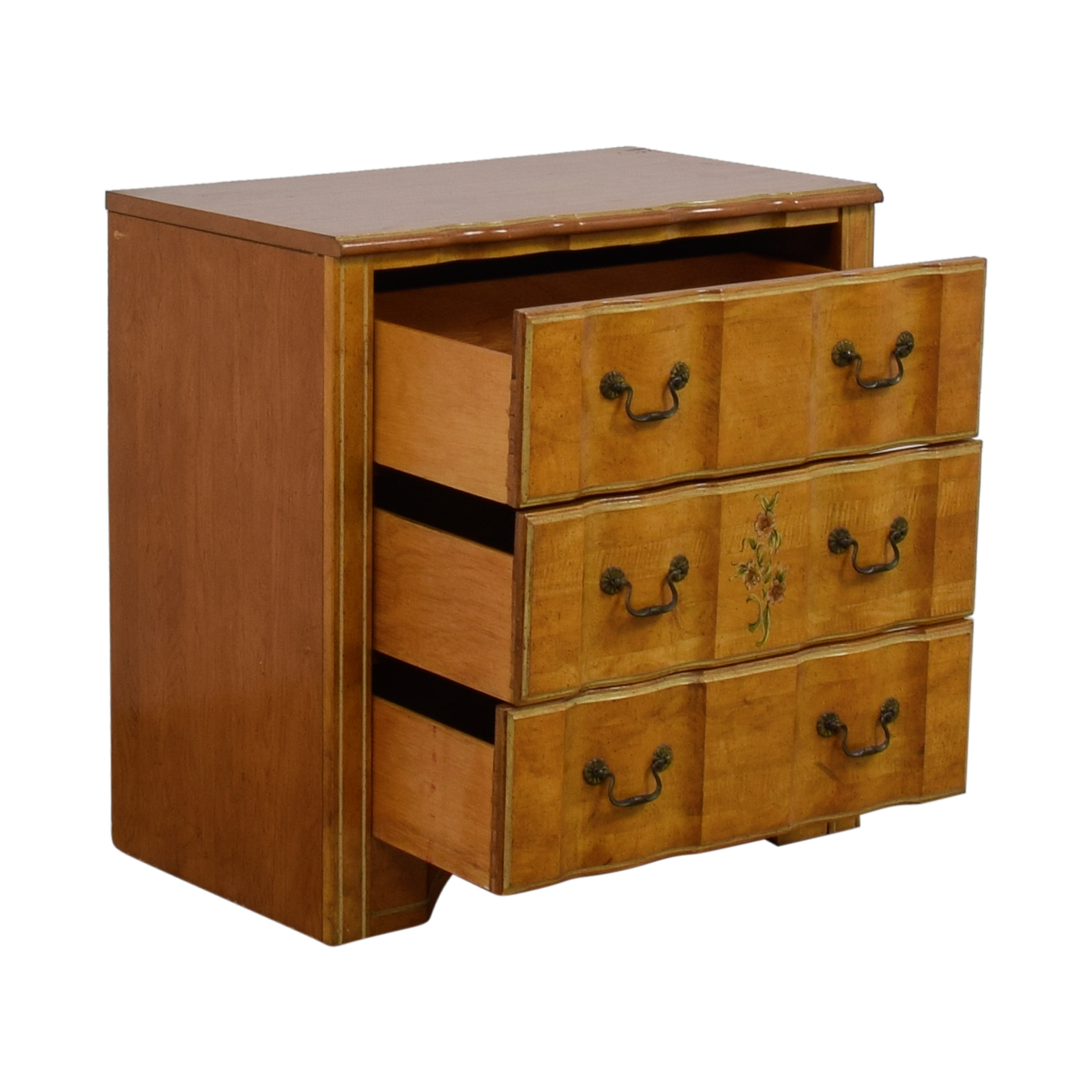 Vintage Painted Three-Drawer Chest of Drawers Beige
