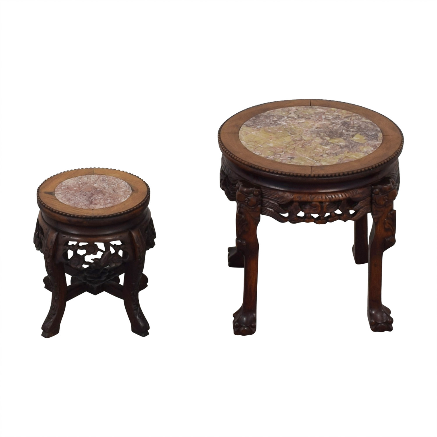 Oriental Carved Wood and Marble Occasional Tables dimensions