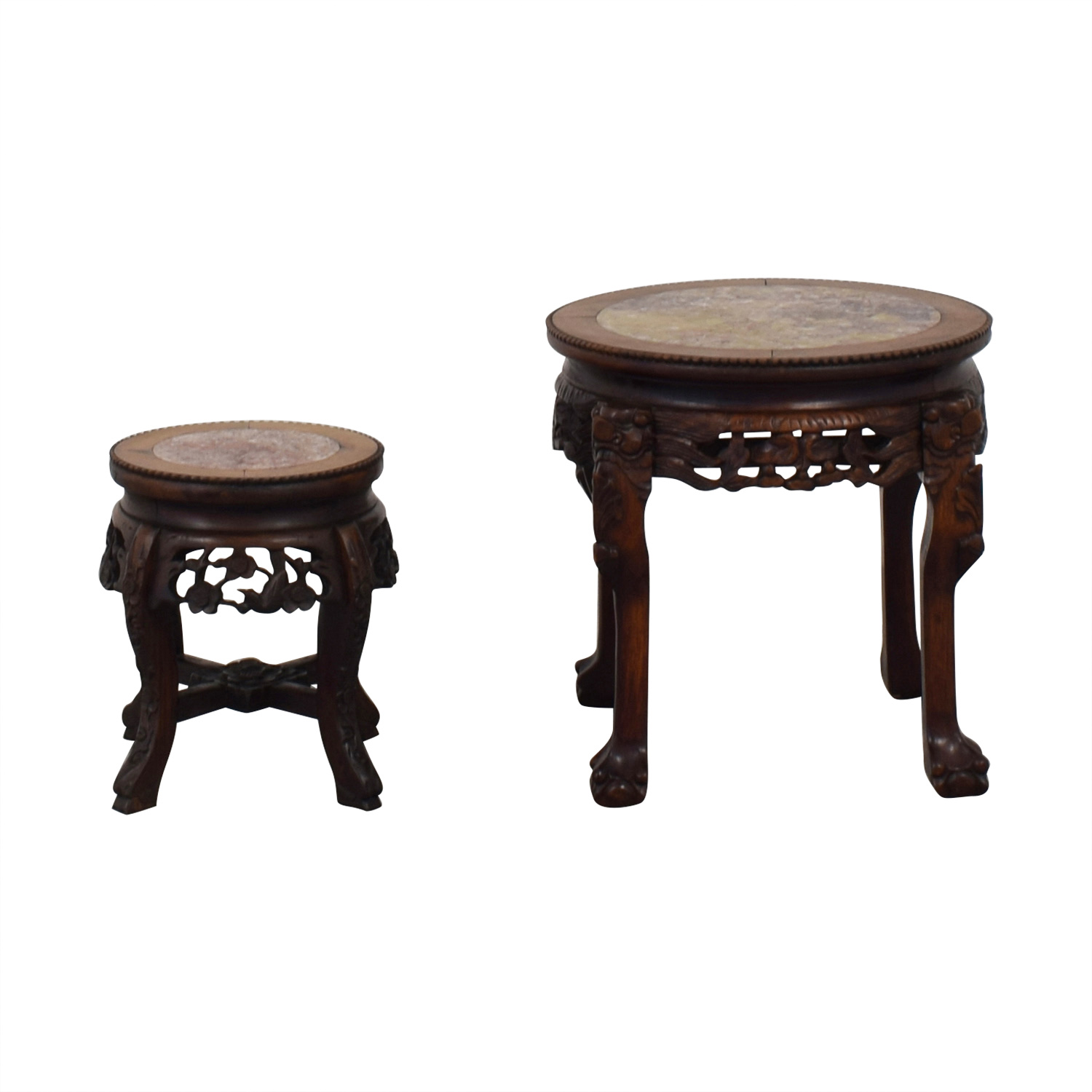 Oriental Carved Wood And Marble Occasional Tables Nj