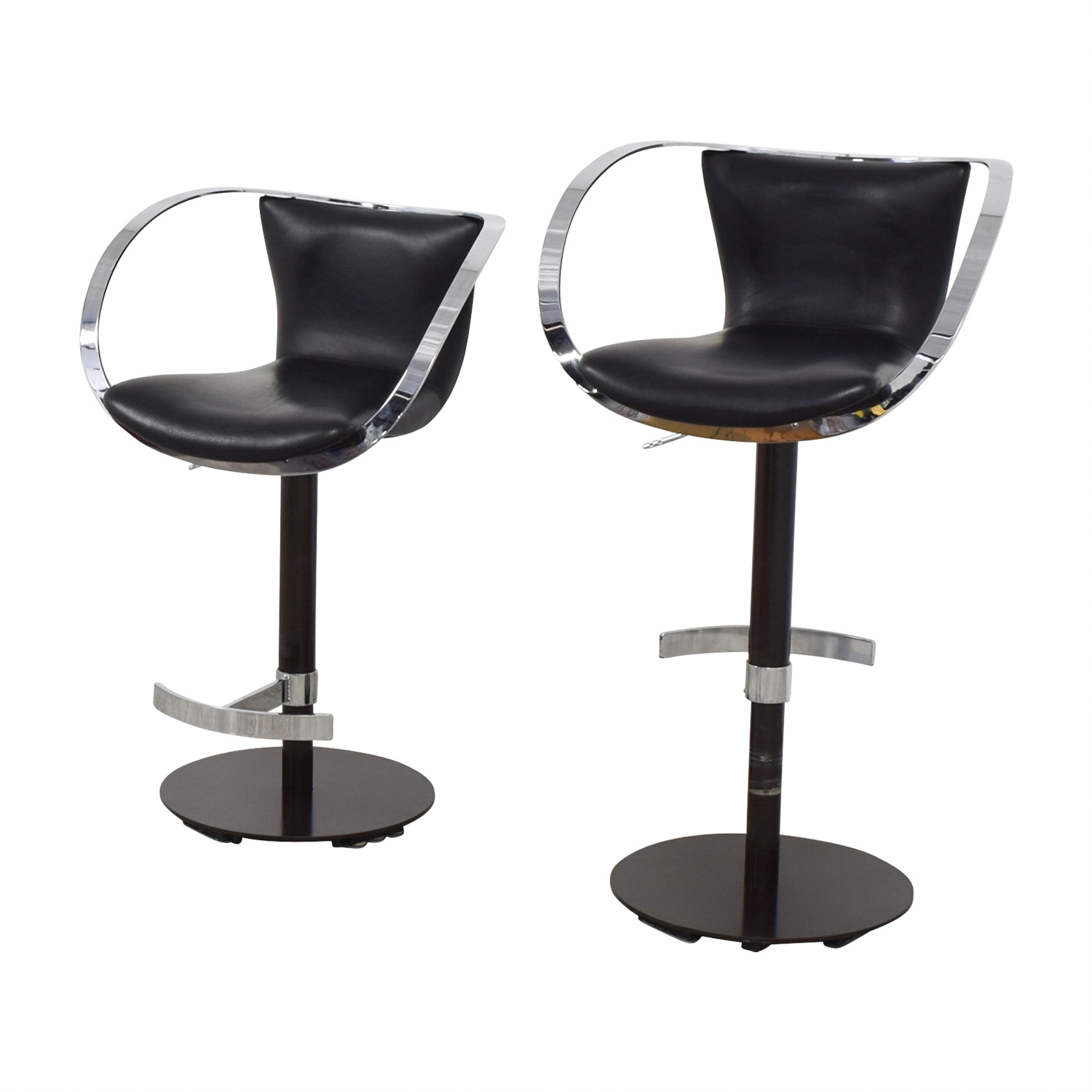 76% OFF - Crate & Barrel Crate & Barrel Black Leather and Chrome Adjustable  Kitchen Stools / Chairs
