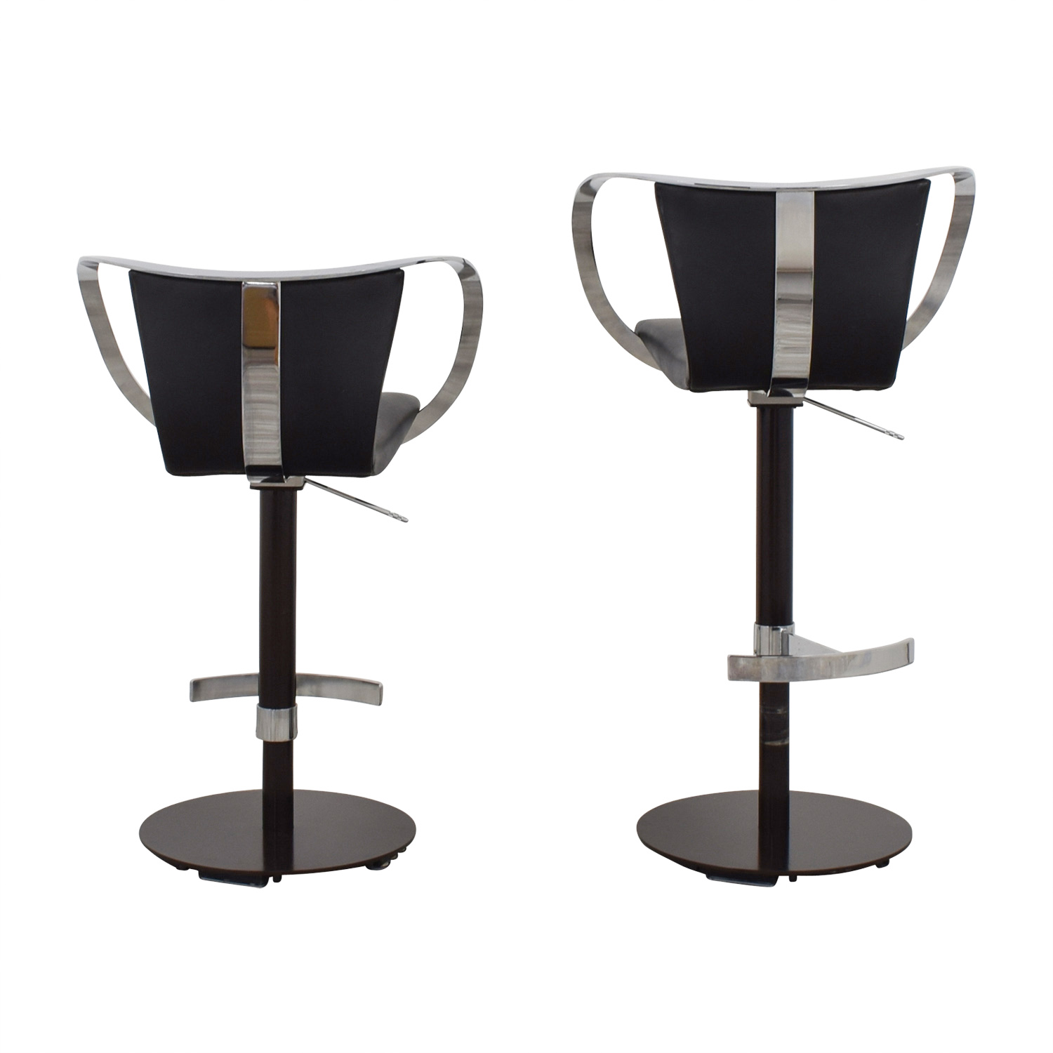 Crate & Barrel Black Leather and Chrome Adjustable Kitchen Stools / Stools