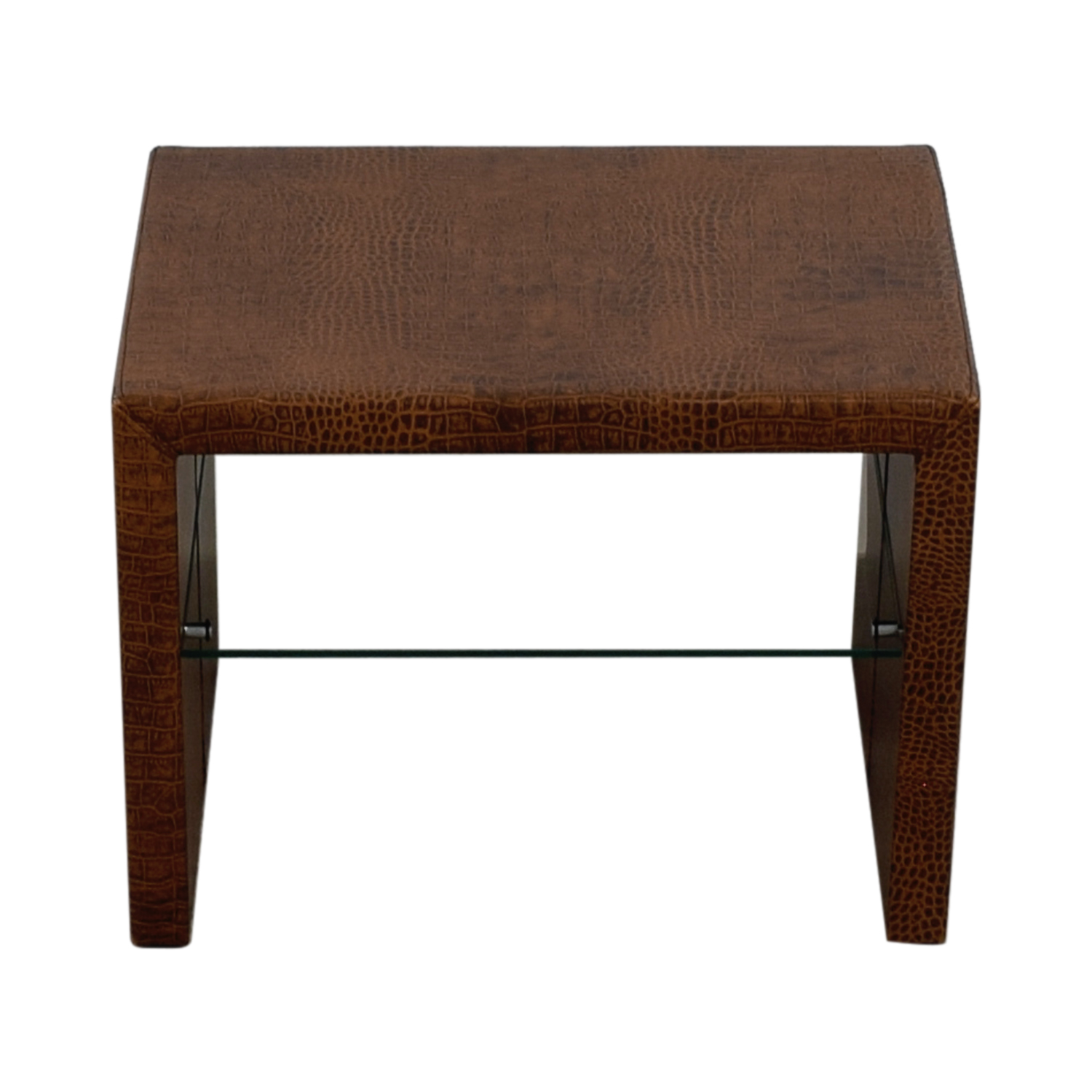 Crate & Barrel Crate & Barrel Brown Table with Glass Shelf