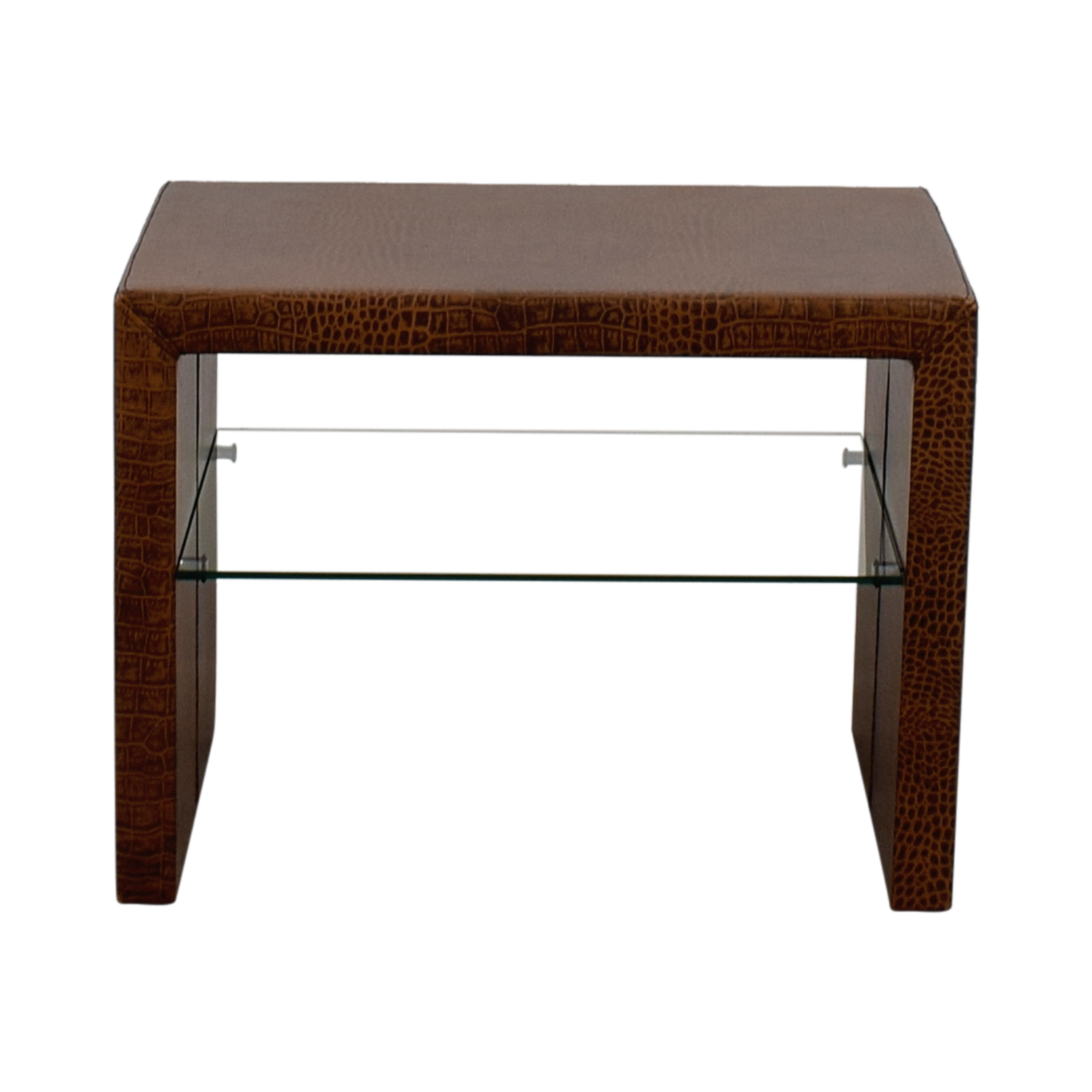 Crate & Barrel Crate & Barrel Brown Table with Glass Shelf Tables