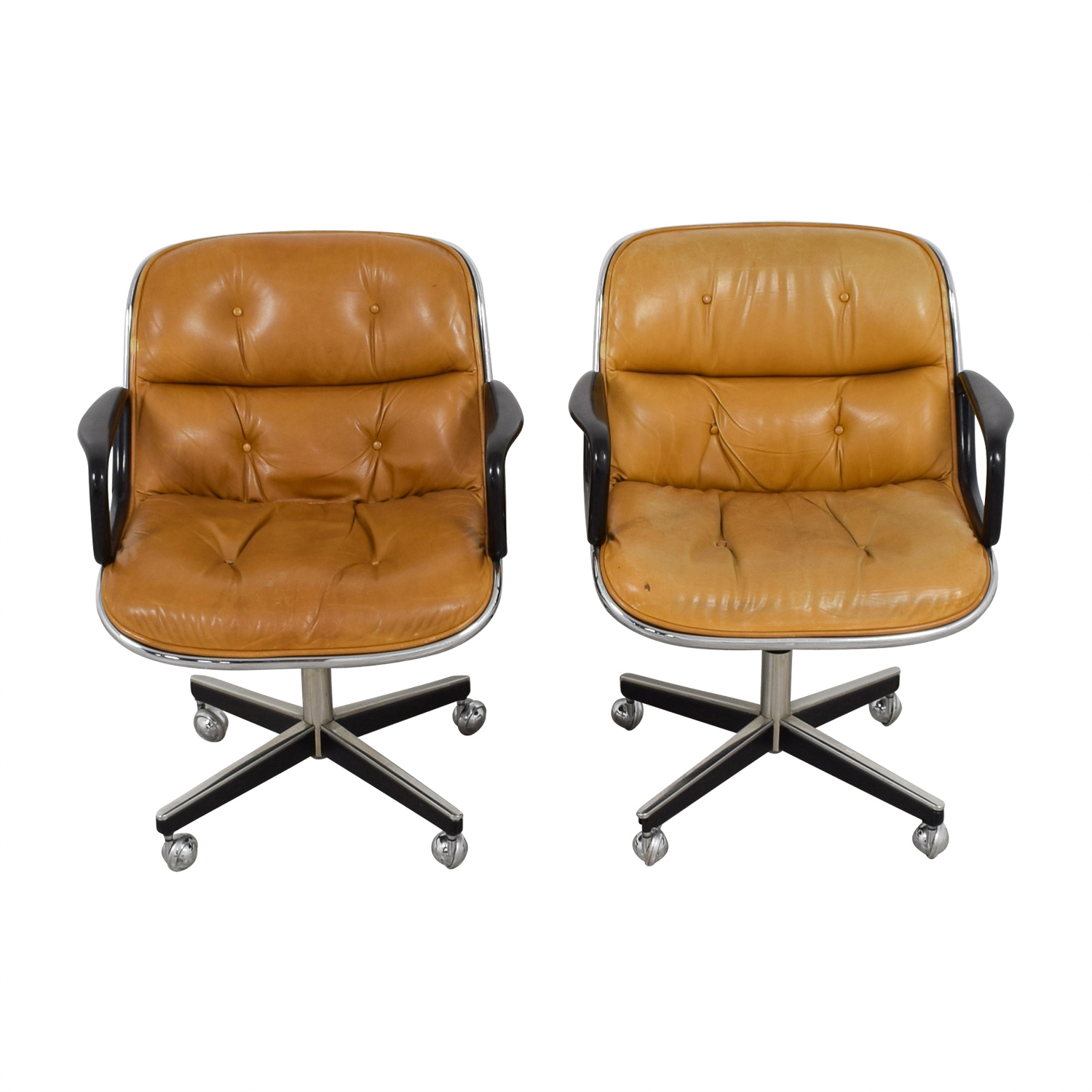 Knoll Knoll Pollock Cognac Leather Executive Chairs dimensions