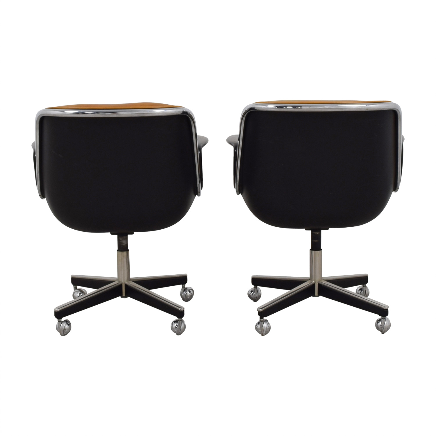 shop Knoll Pollock Cognac Leather Executive Chairs Knoll Chairs