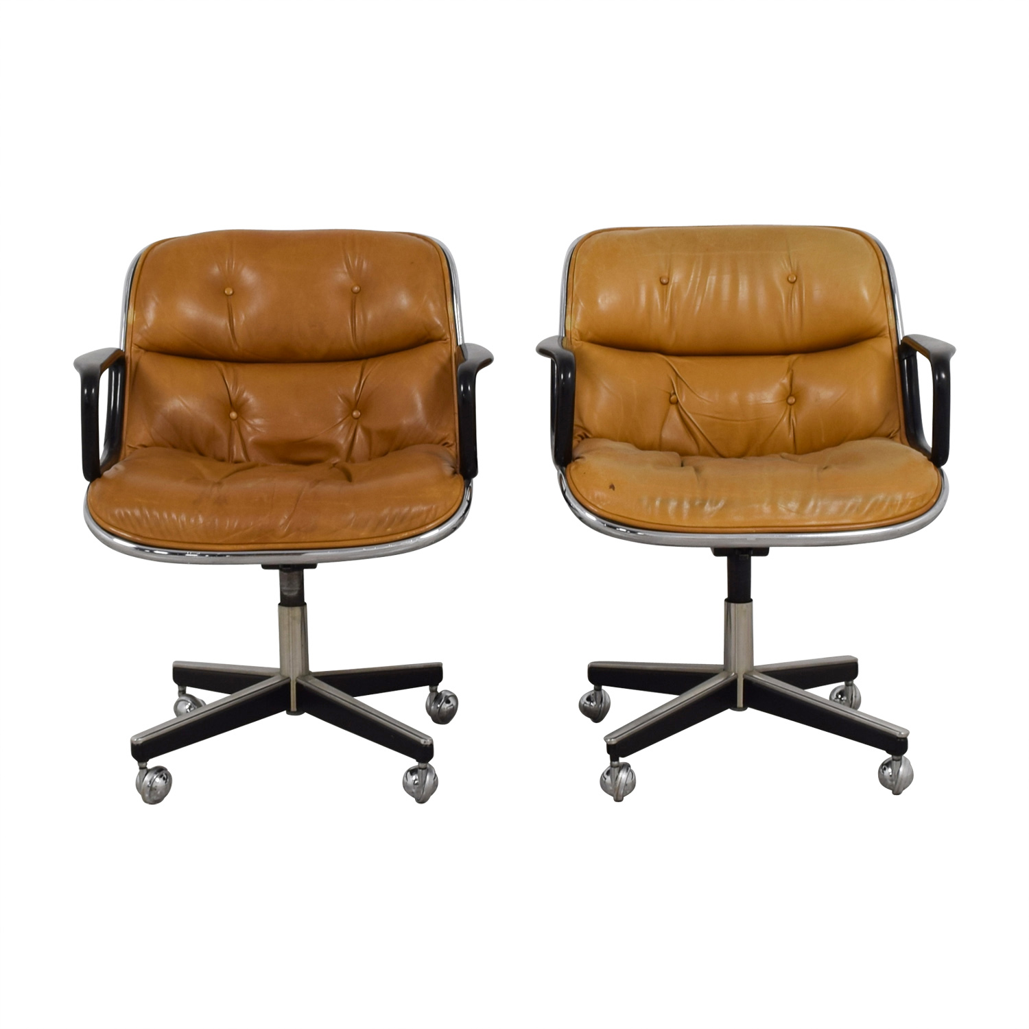 Knoll Knoll Pollock Cognac Leather Executive Chairs second hand