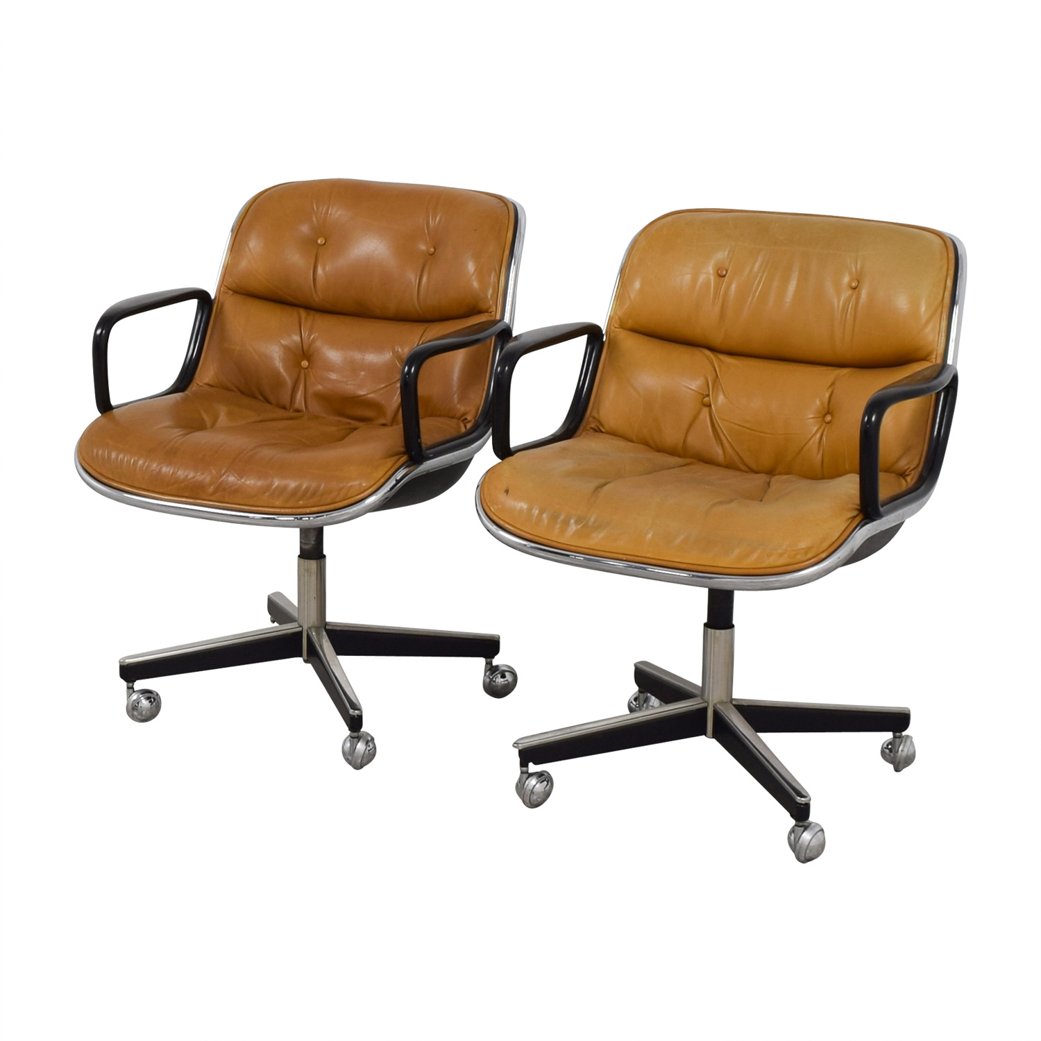 buy Knoll Knoll Pollock Cognac Leather Executive Chairs online