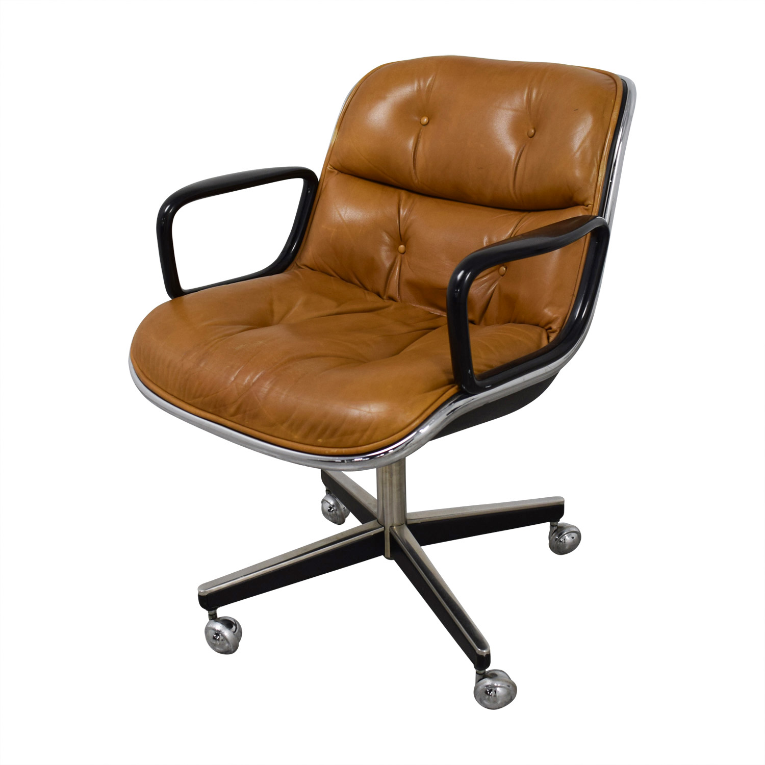 Knoll Pollock Cognac Leather Executive Chairs / Chairs