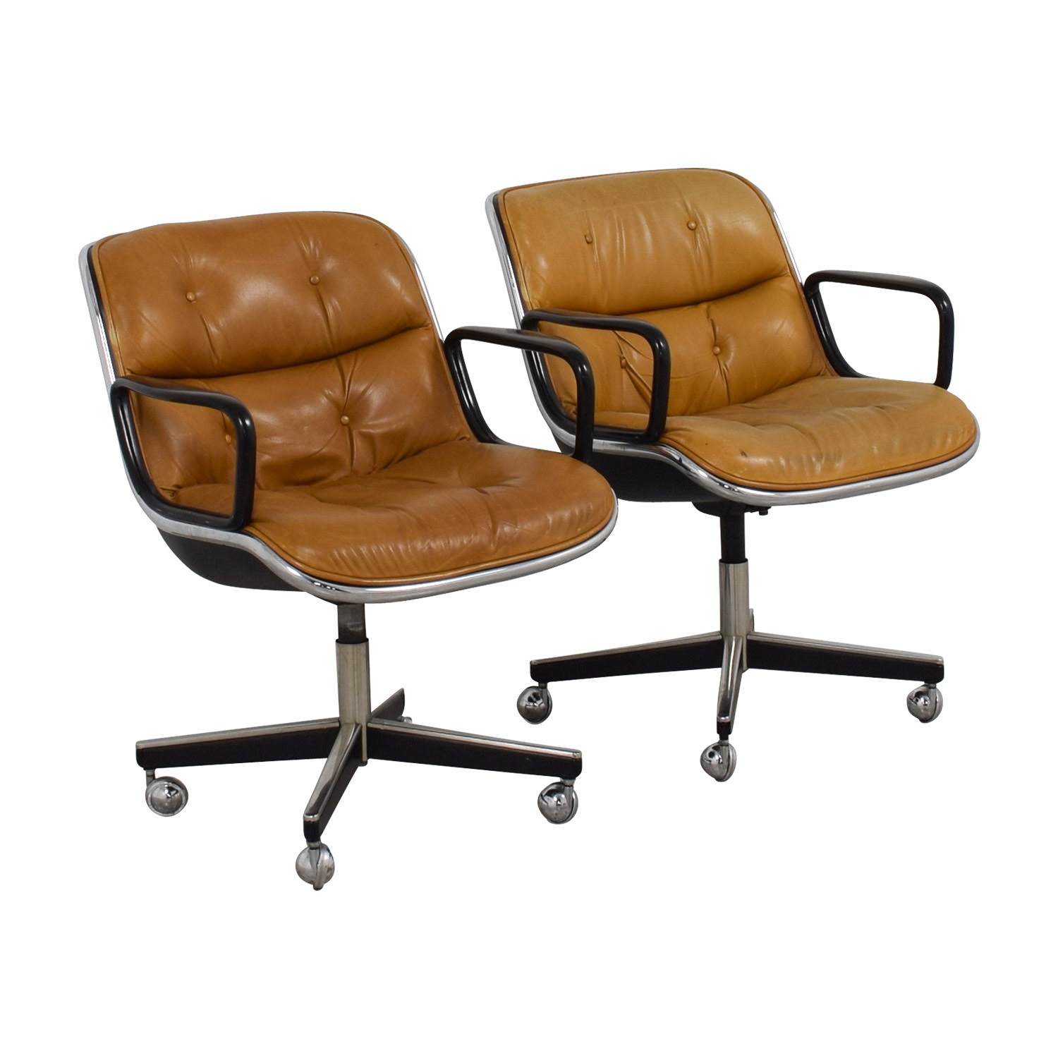 Knoll Knoll Pollock Cognac Leather Executive Chairs