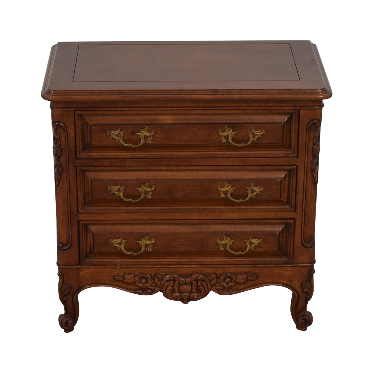 Bau Furniture Bau Furniture Antique Wood Carved Three-Drawer Nightstand