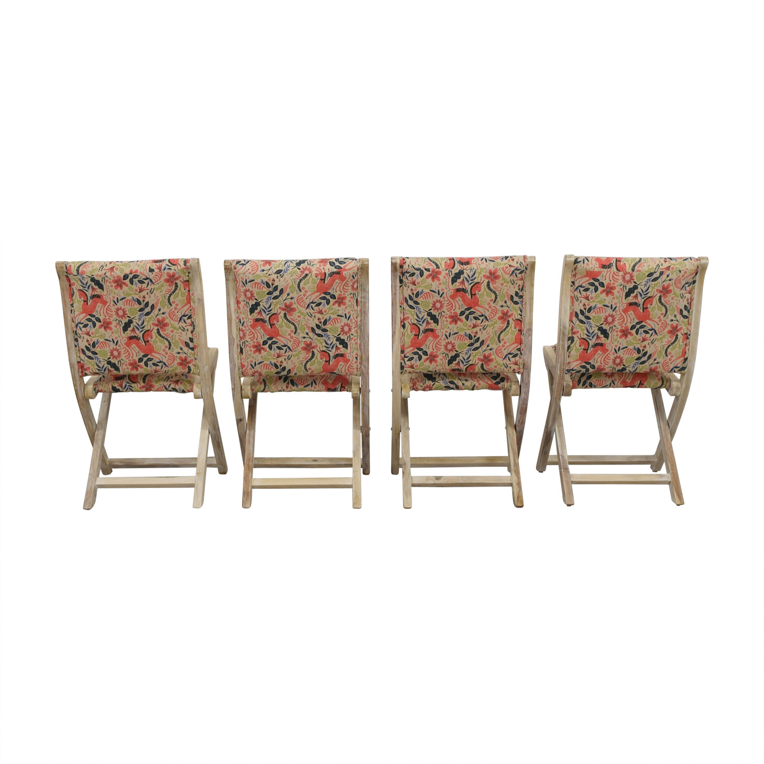 Anthropologie Anthropologie Rustic Multi-Colored Unicorn Folding Chairs used