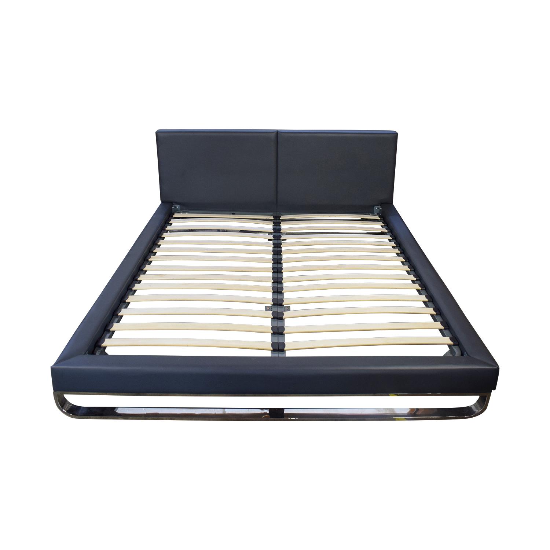 Modloft Modloft Chelsea Grey Leather Queen Bed Frame nj