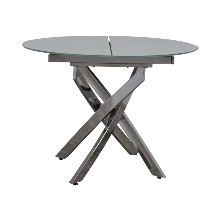 Lumens Glass and Chrome Extendable Dining Table Lumens