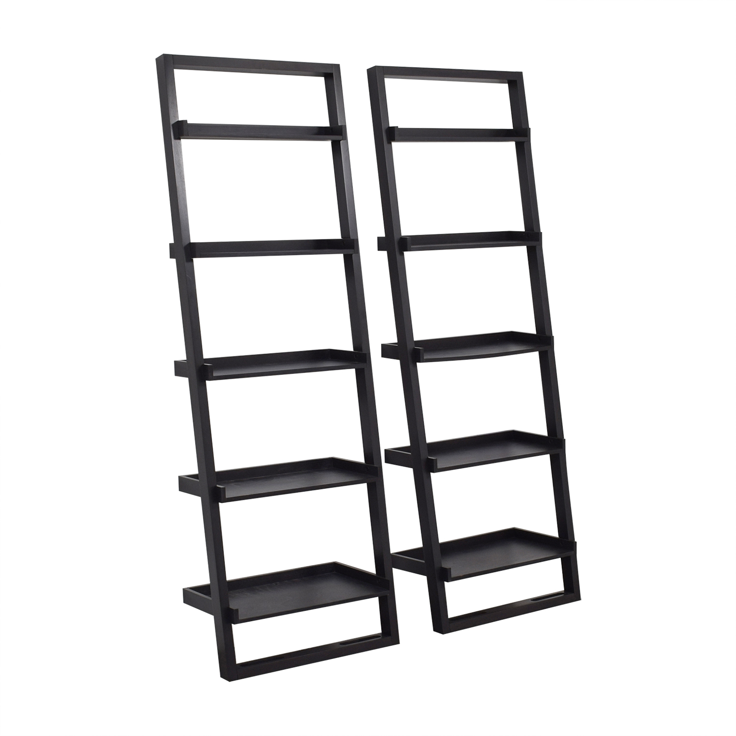 Crate & Barrel Crate & Barrel Black Leaning Bookshelves coupon