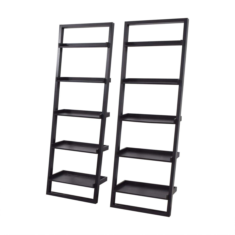Crate Barrel Black Leaning Bookshelves