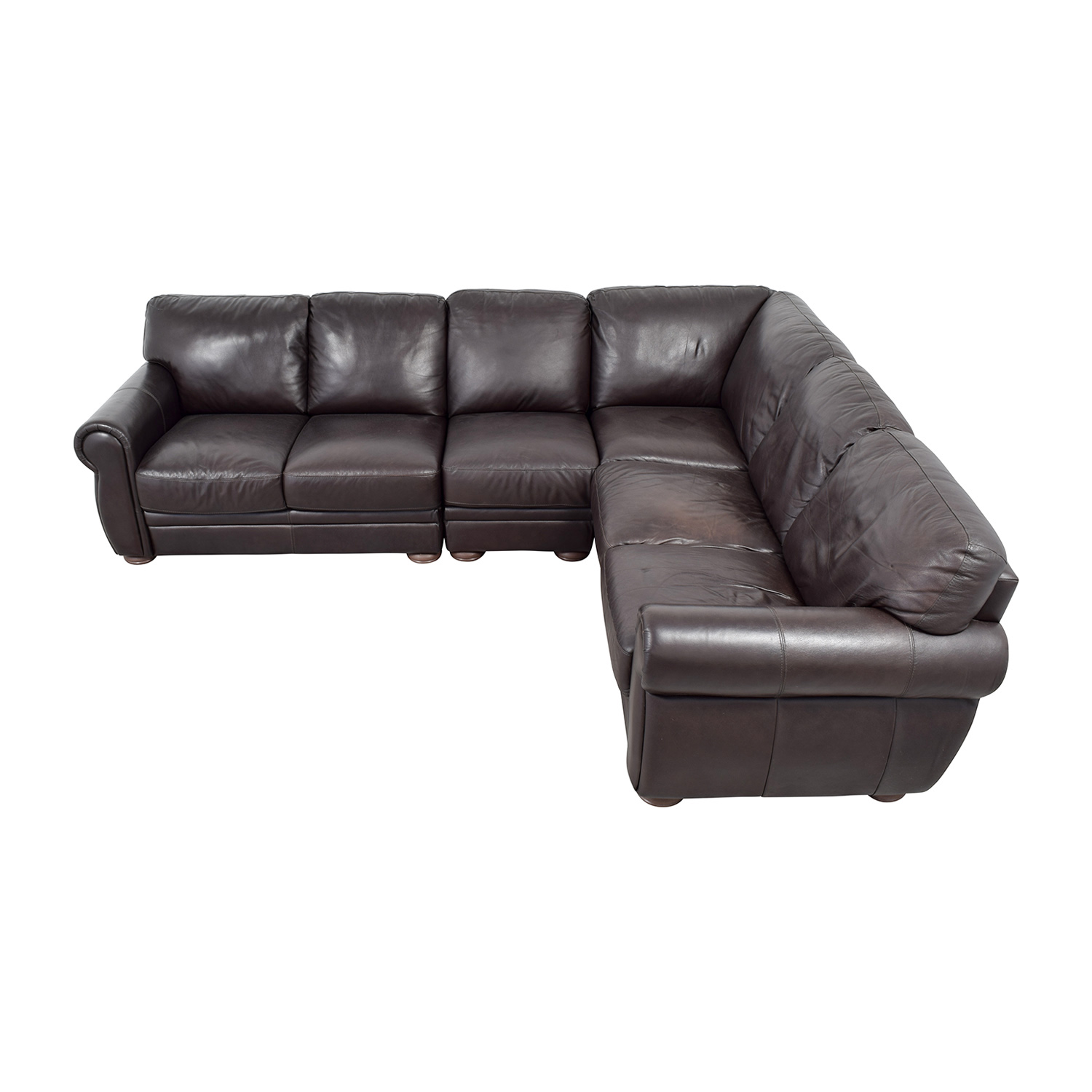 buy Raymour & Flanigan Marsala Brown Leather L-Shaped Sectional Raymour & Flanigan