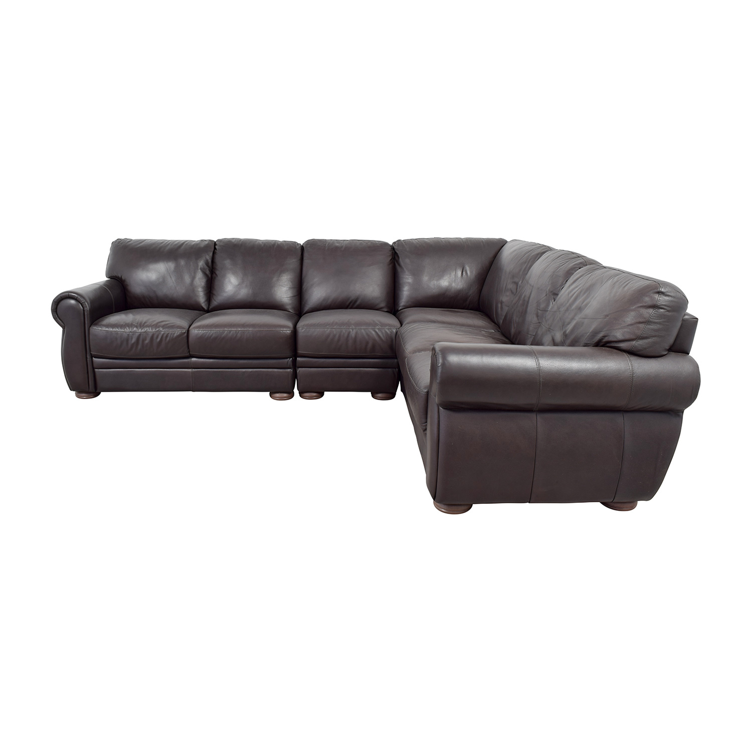 Raymour & Flanigan Raymour & Flanigan Marsala Brown Leather L-Shaped Sectional nj