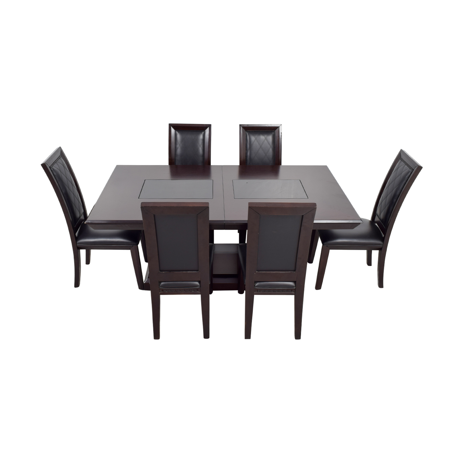 buy Najarian Brentwood Dining Set with Black Leather Chairs Najarian Tables
