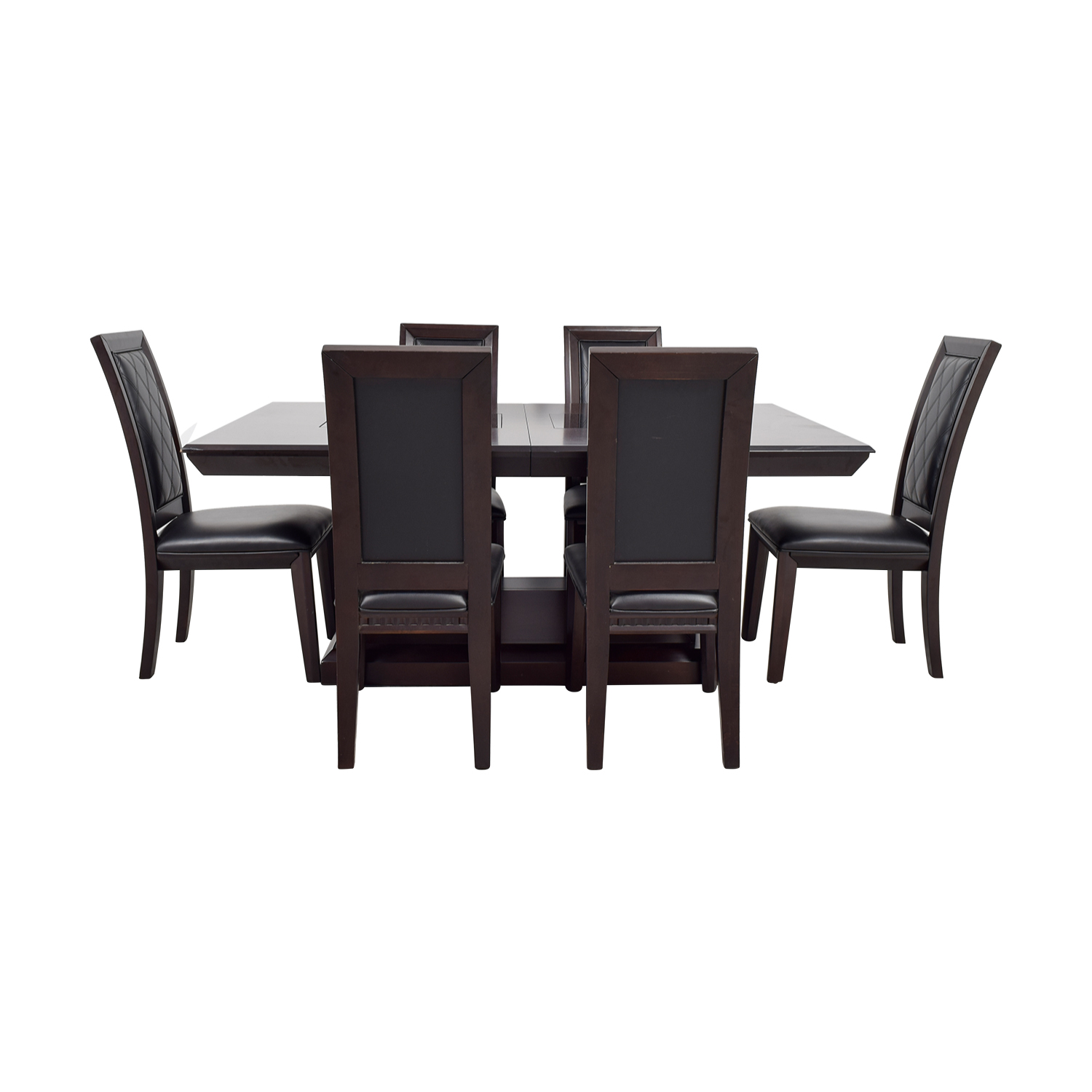 Najarian Najarian Brentwood Dining Set with Black Leather Chairs dimensions